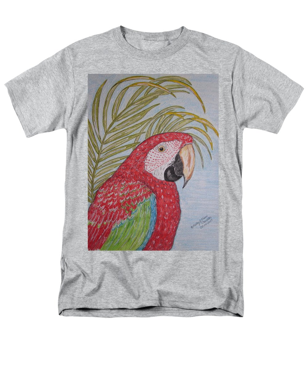 Green Wing Macaw Men's T-Shirt (Regular Fit) featuring the painting Green Winged Macaw by Kathy Marrs Chandler