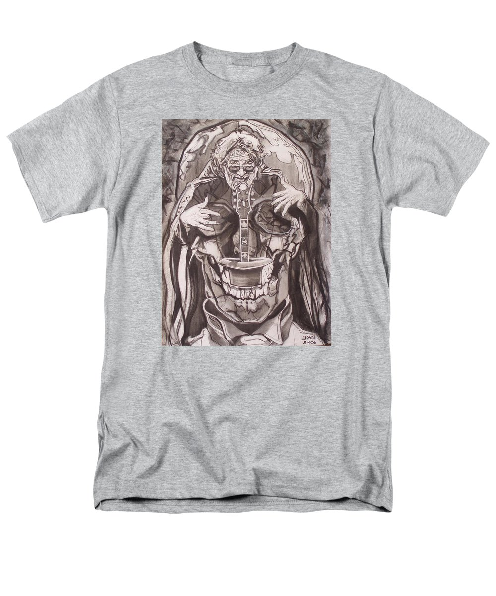 Charcoal Men's T-Shirt (Regular Fit) featuring the drawing Jerry Garcia . . Magic Is What We Do - Music Is How We Do It by Sean Connolly