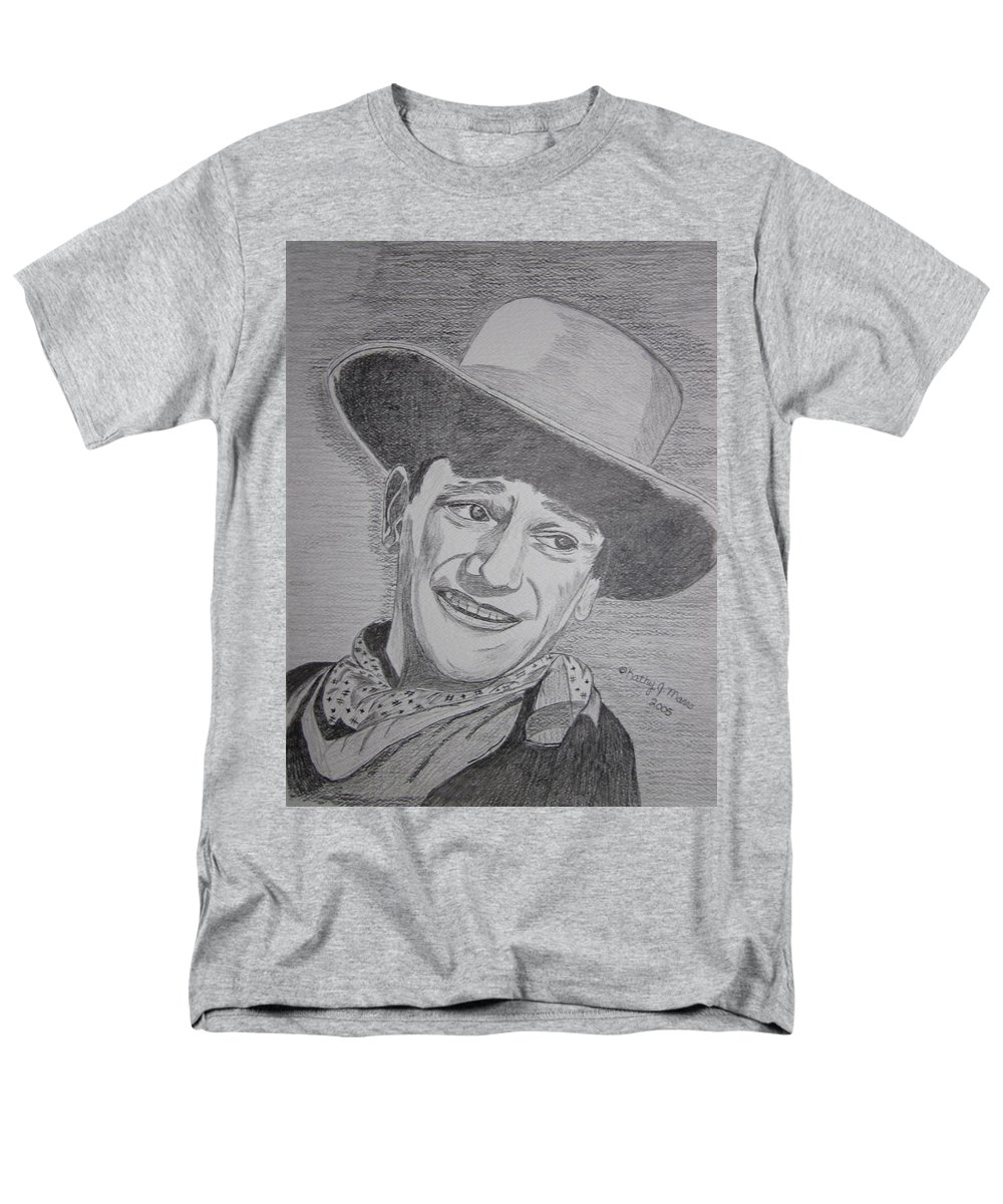 John Wayne Men's T-Shirt (Regular Fit) featuring the painting John Wayne by Kathy Marrs Chandler