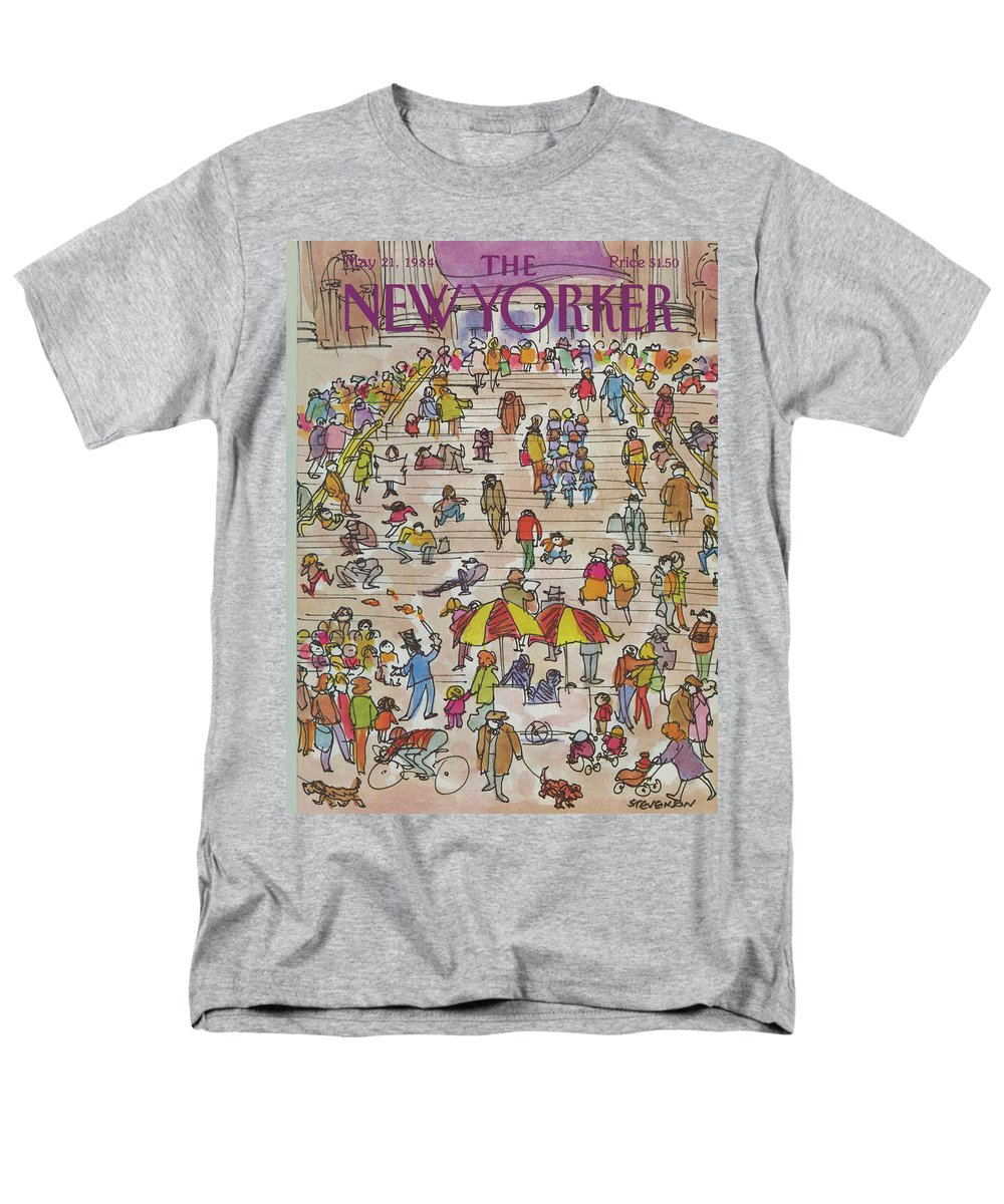 Metropolitan Museum Men's T-Shirt (Regular Fit) featuring the painting New Yorker May 21st, 1984 by James Stevenson