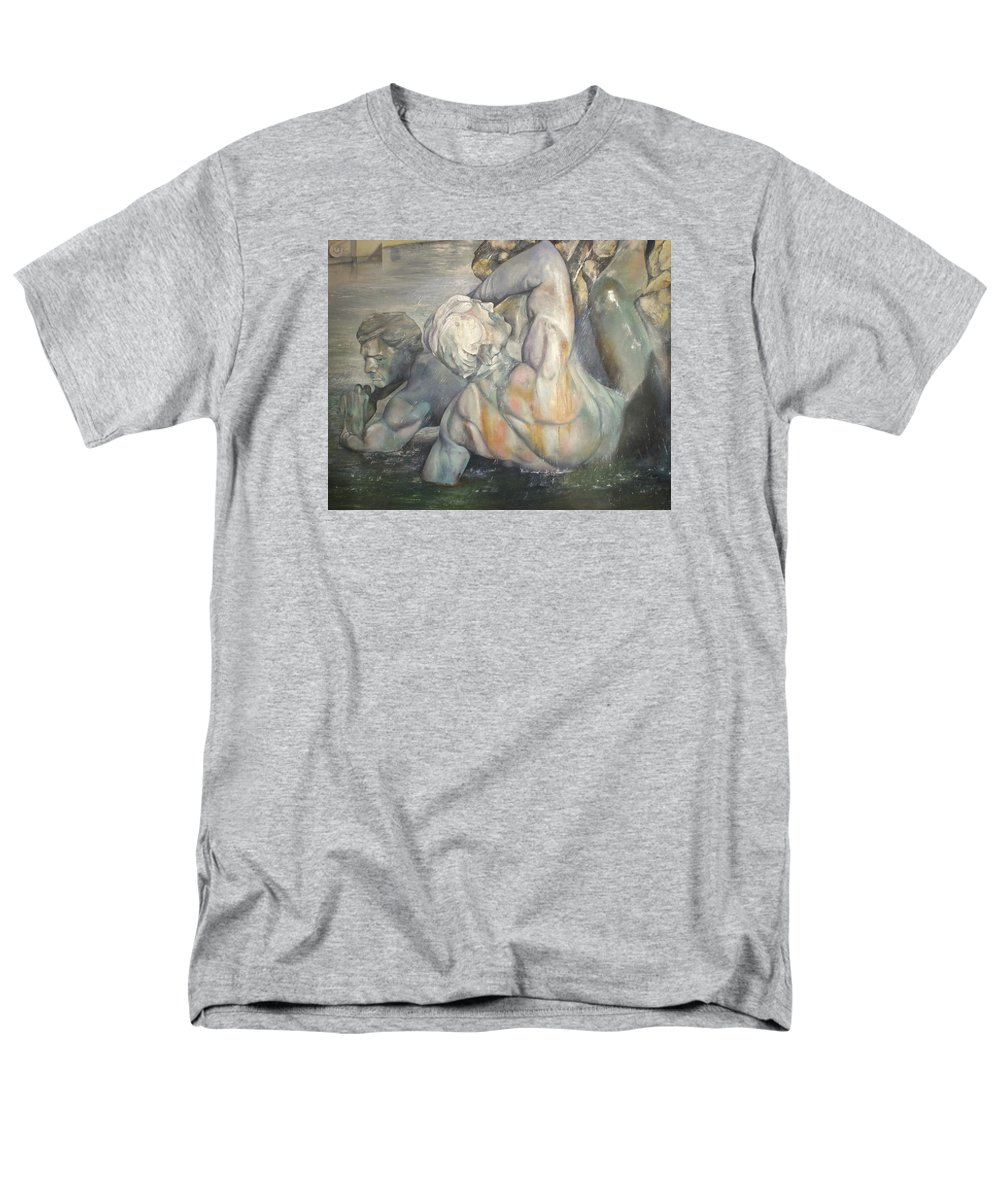 Art Fine Men's T-Shirt (Regular Fit) featuring the painting Fuente Girondins by Tomas Castano