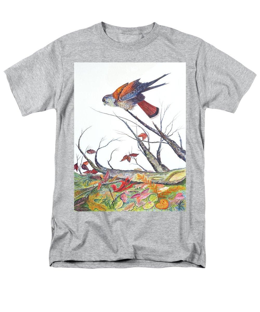 Bird Men's T-Shirt (Regular Fit) featuring the painting American Kestrel by Ben Kiger