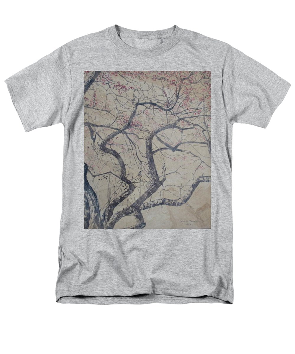 Crab Apple Men's T-Shirt (Regular Fit) featuring the painting Prairie Fire by Leah Tomaino
