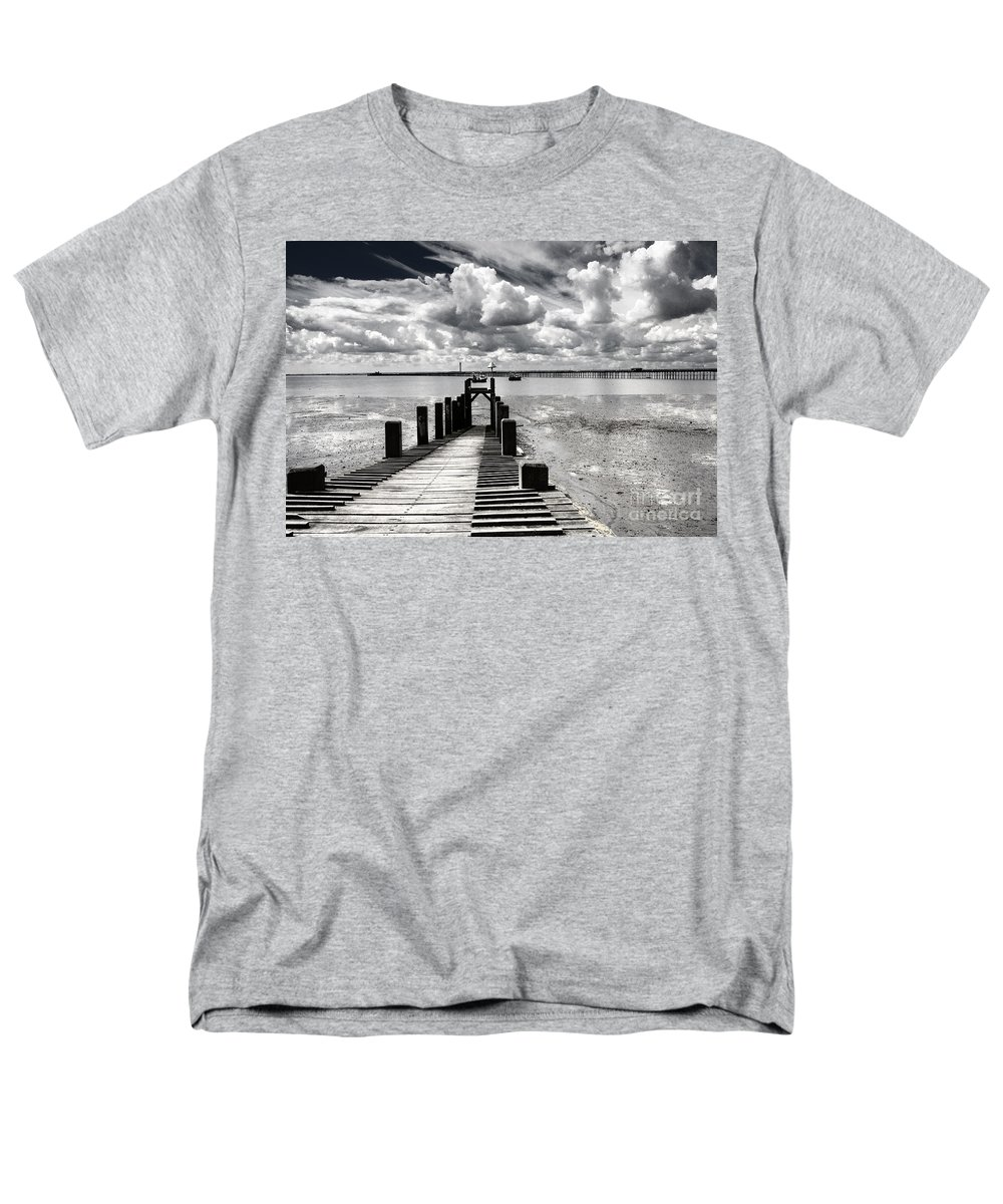 Wharf Southend Essex England Beach Sky Men's T-Shirt (Regular Fit) featuring the photograph Derelict Wharf by Avalon Fine Art Photography