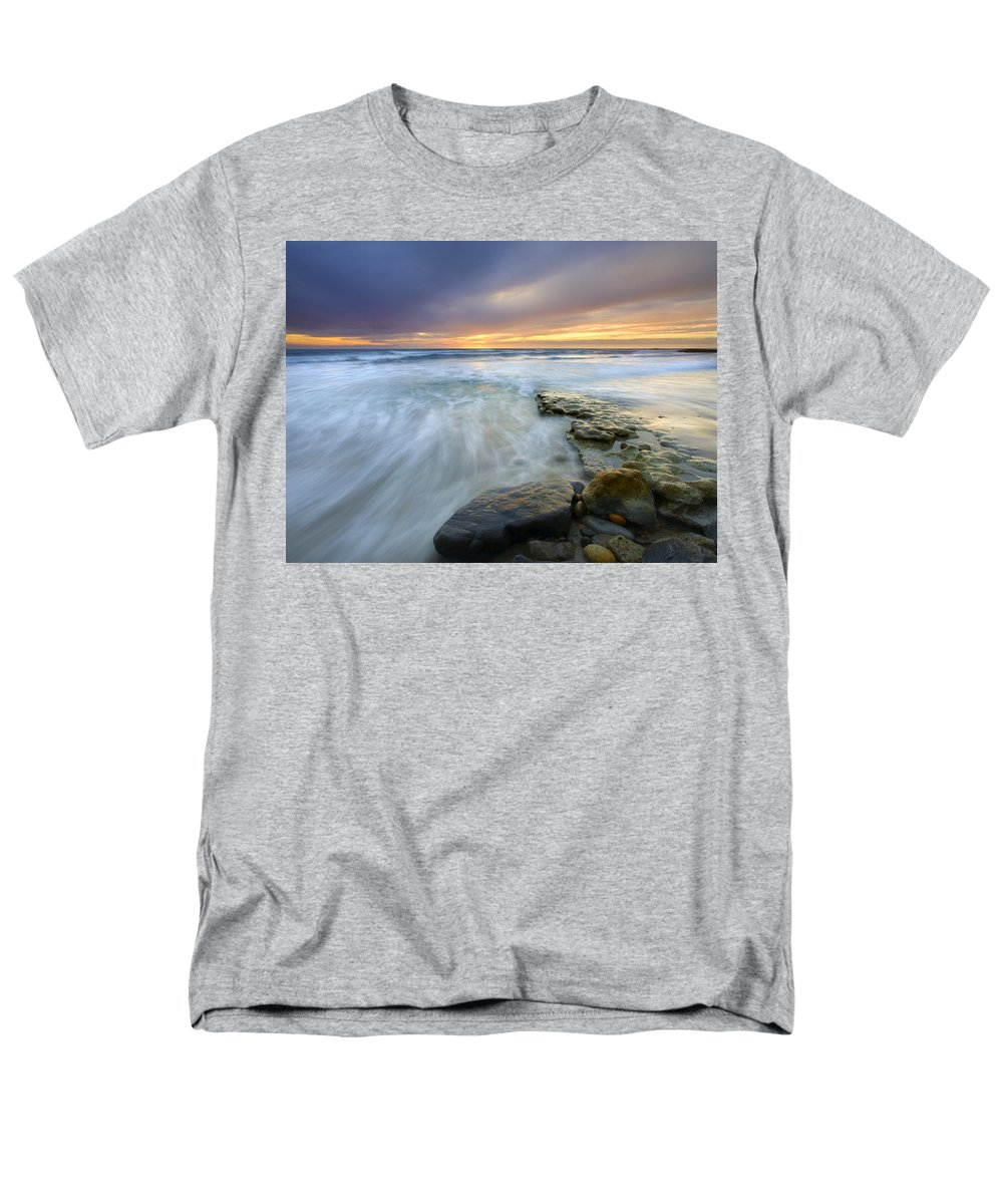 Rocks Men's T-Shirt (Regular Fit) featuring the photograph Driven before the storm by Mike Dawson