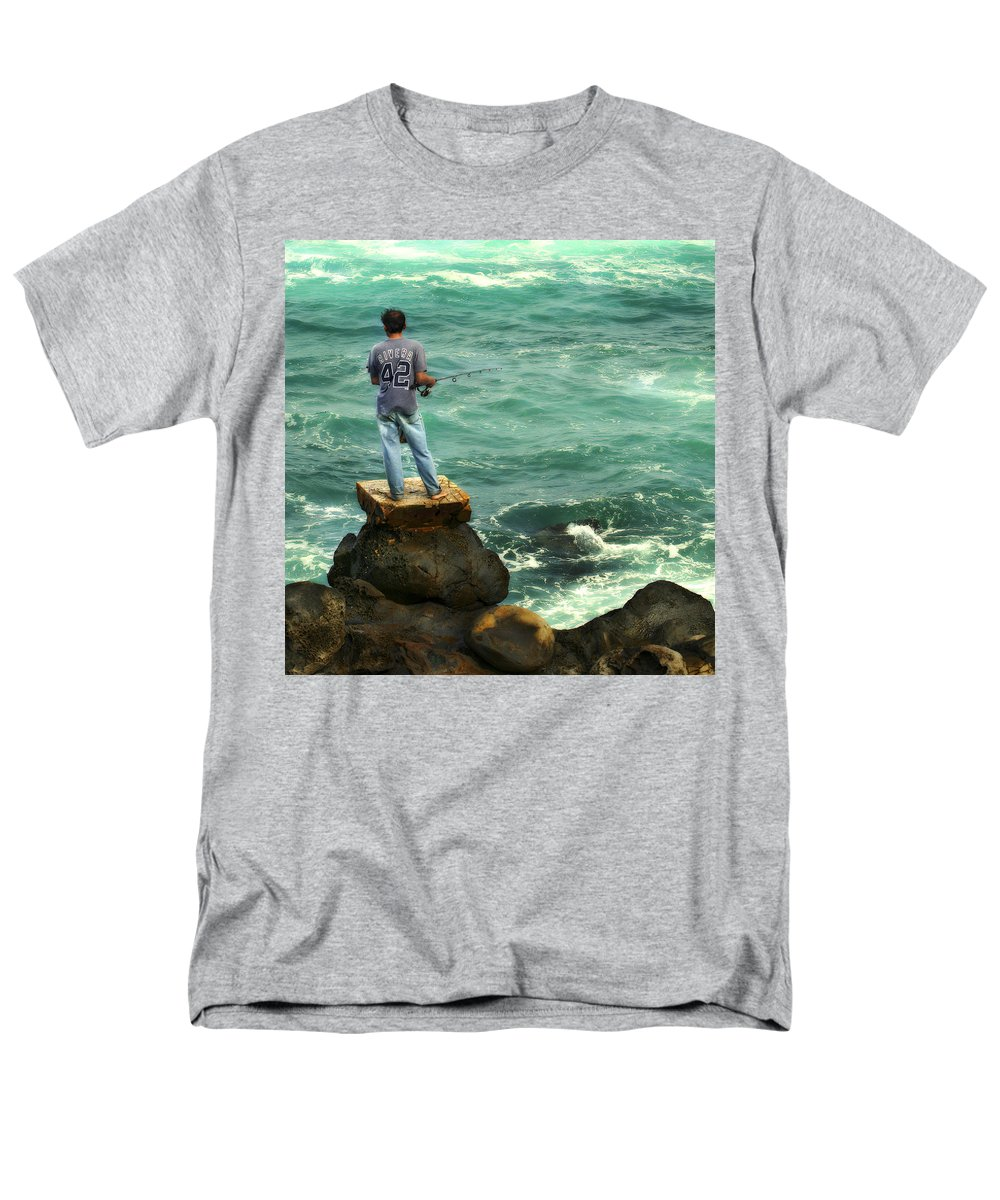 Americana Men's T-Shirt (Regular Fit) featuring the photograph Fisherman by Marilyn Hunt