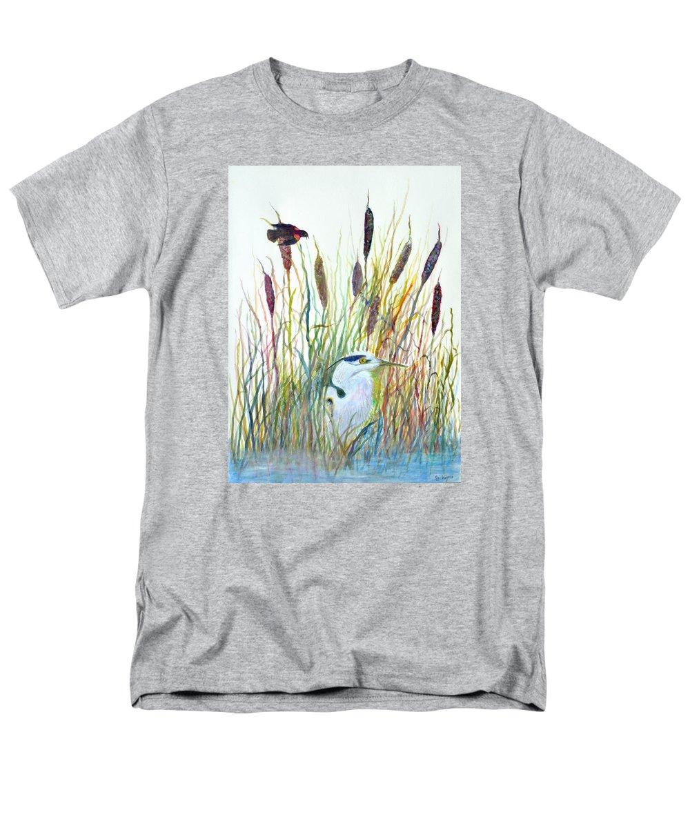 Fishing Men's T-Shirt (Regular Fit) featuring the painting Fishing Blue Heron by Ben Kiger