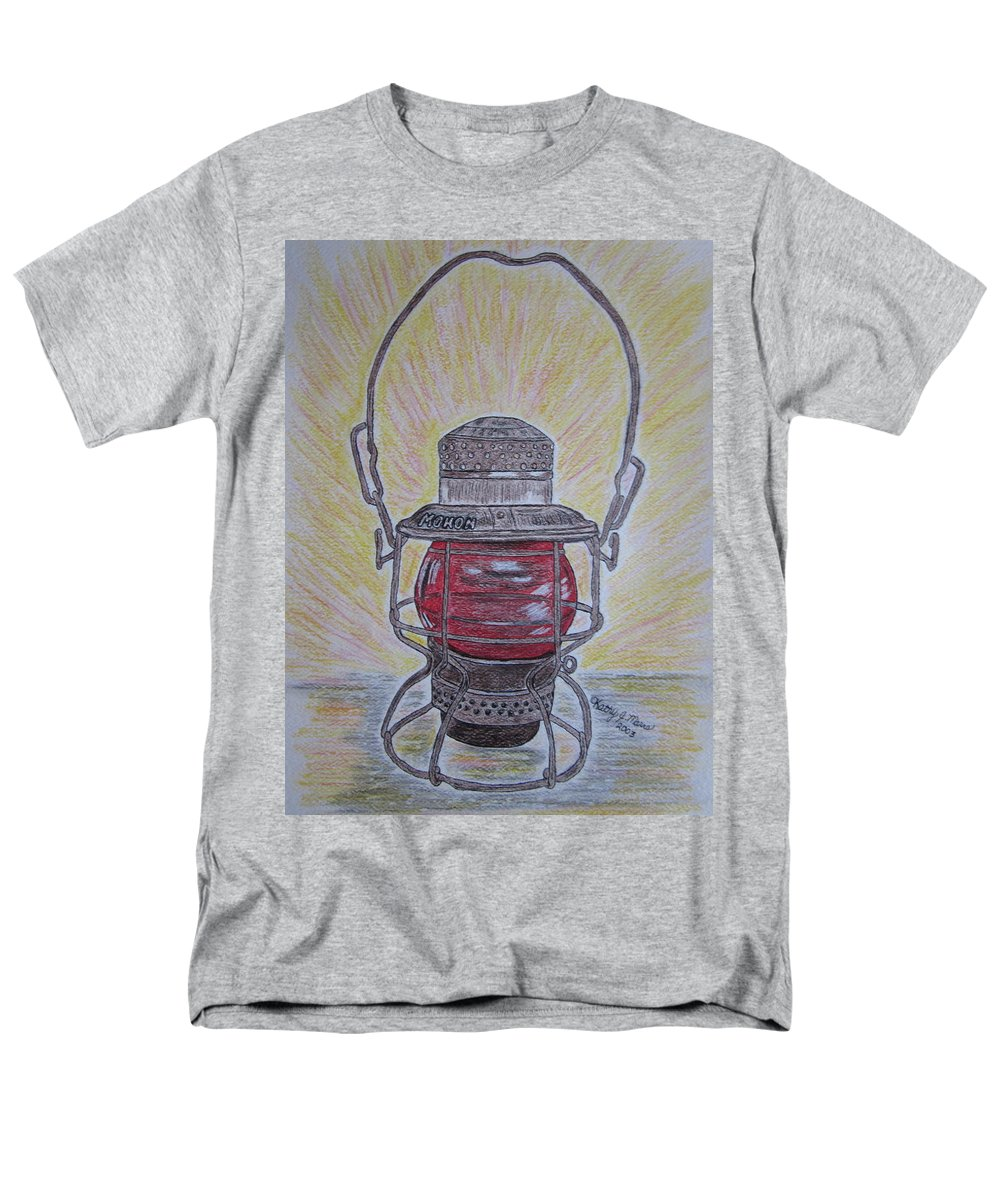 Monon Men's T-Shirt (Regular Fit) featuring the painting Monon Red Globe Railroad Lantern by Kathy Marrs Chandler