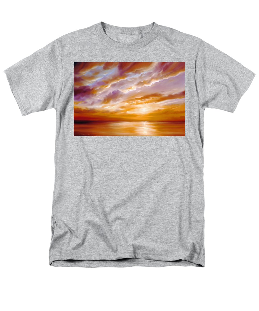 Sunrise; Sunset; Power; Glory; Cloudscape; Skyscape; Purple; Red; Blue; Stunning; Landscape; James C. Hill; James Christopher Hill; Jameshillgallery.com; Ocean; Lakes; Creation; Genesis; Lowcountry Men's T-Shirt (Regular Fit) featuring the painting Morning Grace by James Christopher Hill