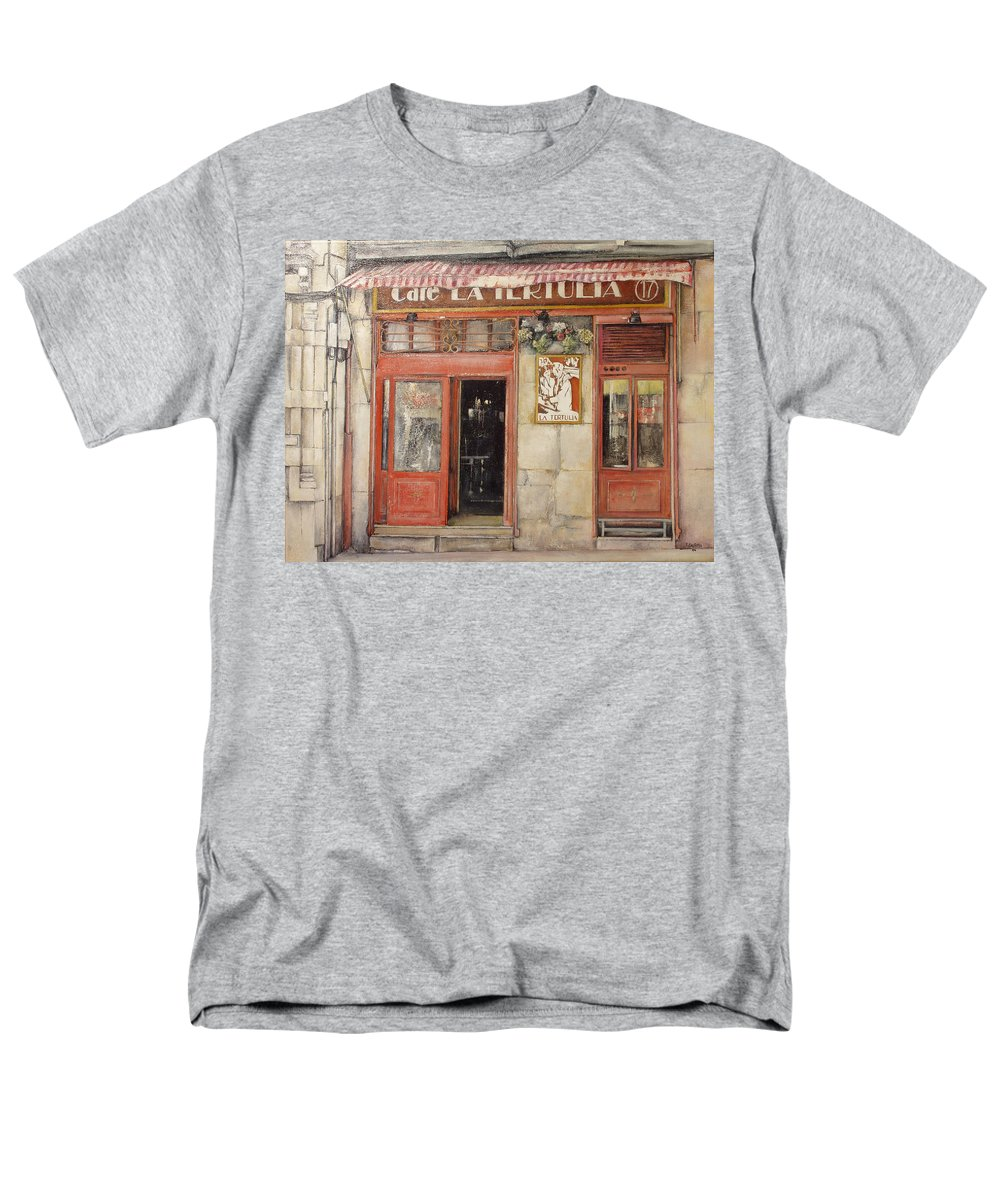Cafe Men's T-Shirt (Regular Fit) featuring the painting Old Cafe- Santander Spain by Tomas Castano