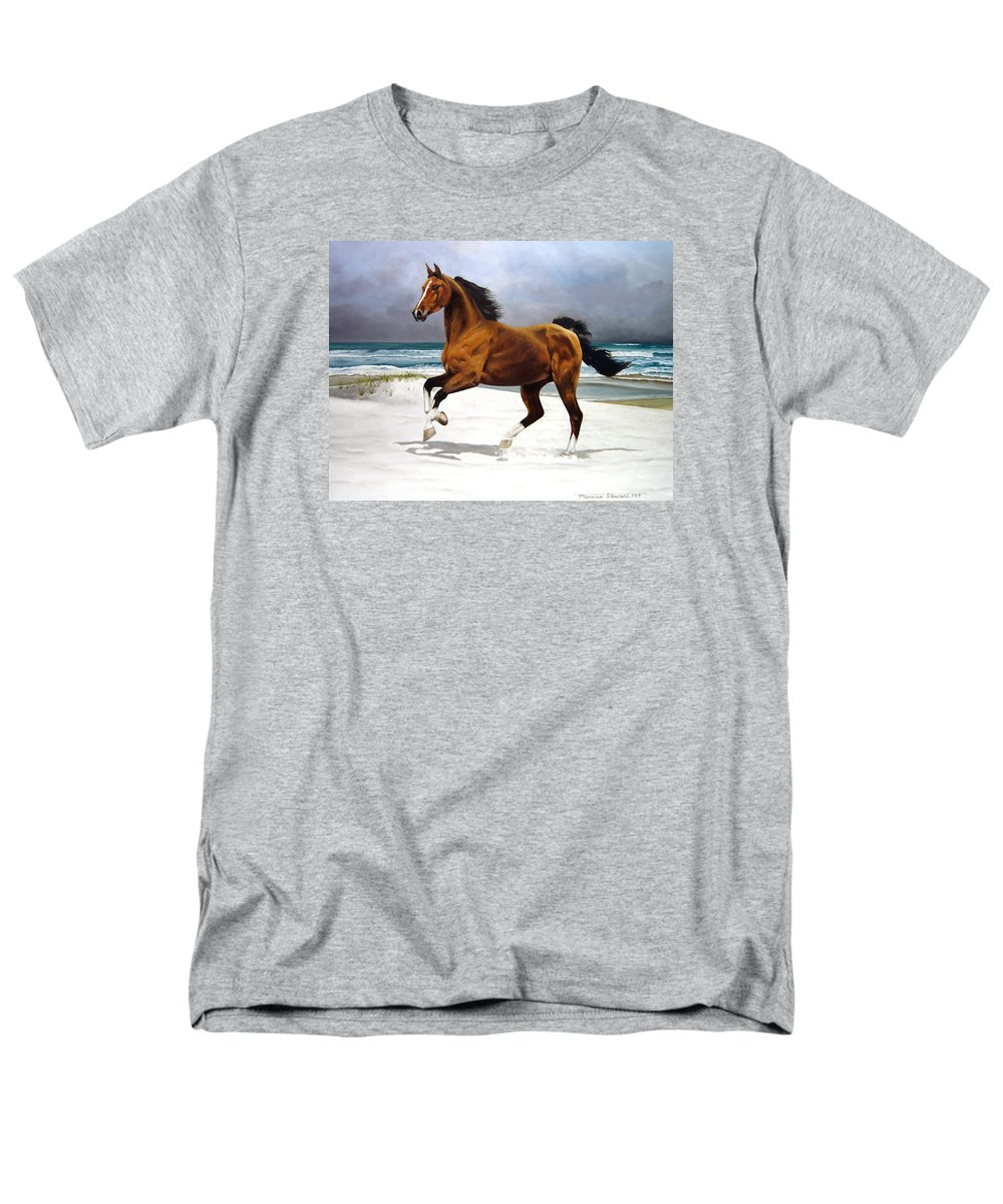 Horse Men's T-Shirt (Regular Fit) featuring the painting On The Beach by Marc Stewart