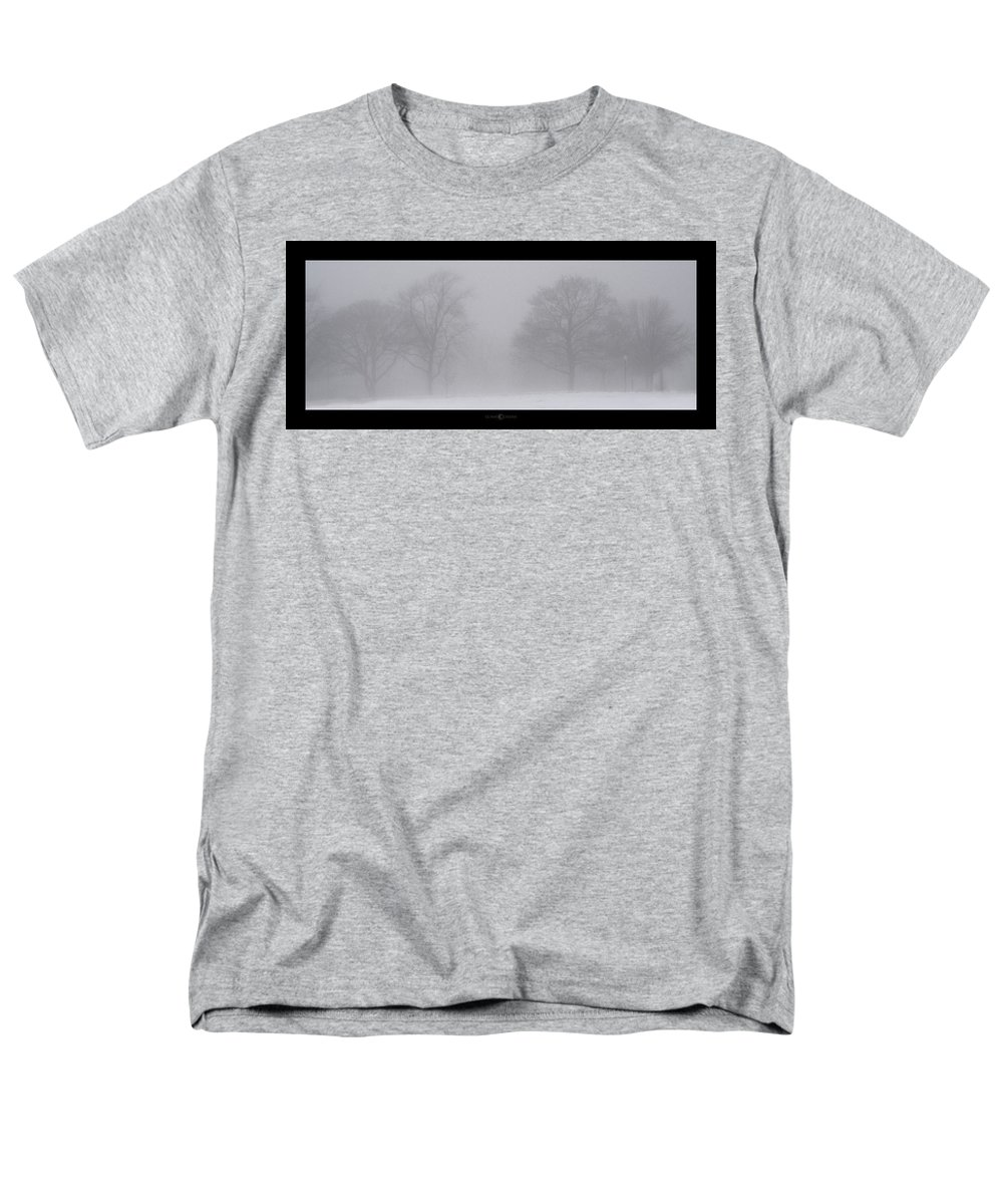 Fog Men's T-Shirt (Regular Fit) featuring the photograph Park in Winter Fog by Tim Nyberg