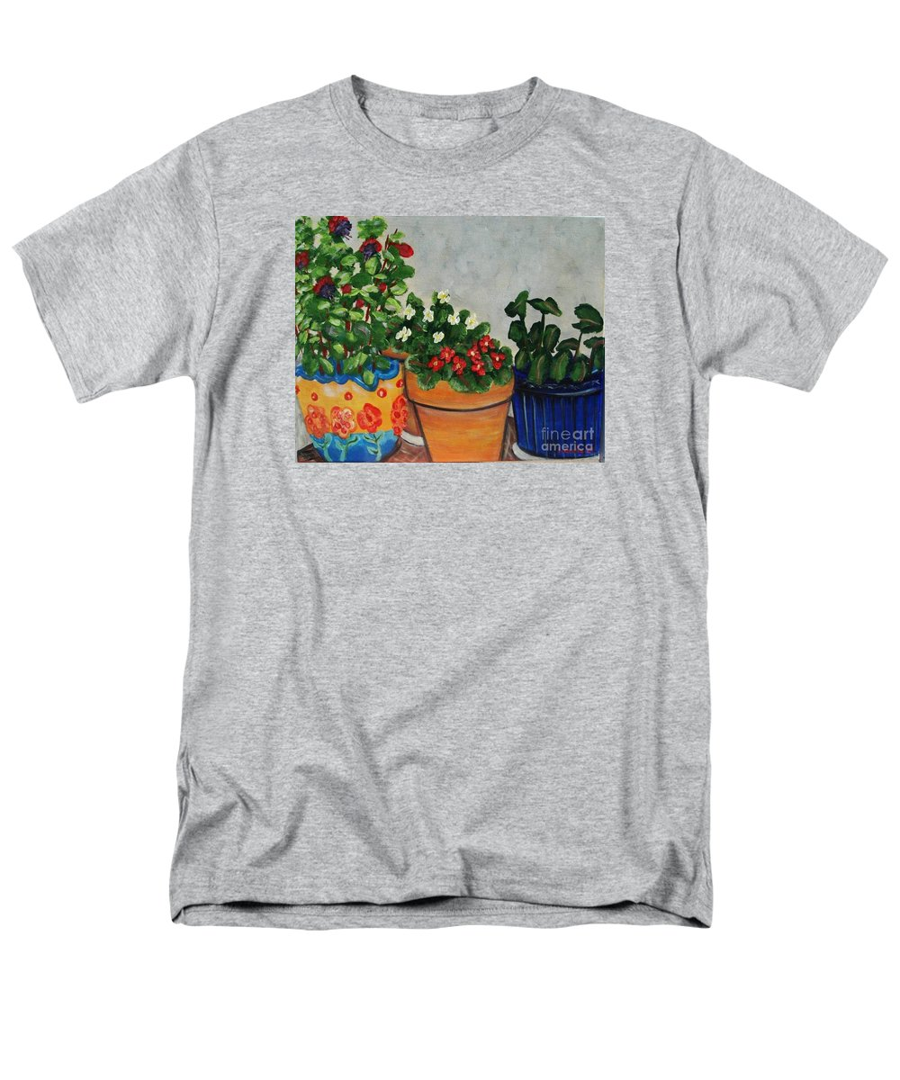 Ceramic Pots Men's T-Shirt (Regular Fit) featuring the painting Pots Showing Off by Laurie Morgan
