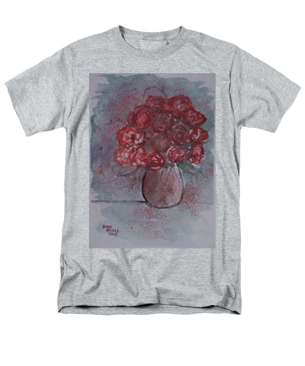 Watercolor Men's T-Shirt (Regular Fit) featuring the painting ROSES still life watercolor floral painting poster print by Derek Mccrea