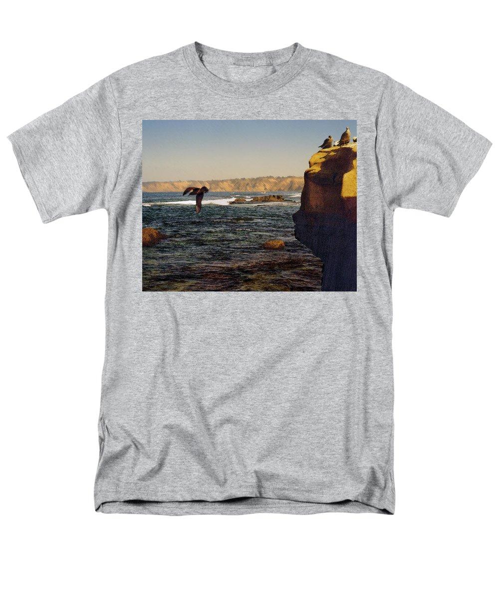 Ocean Men's T-Shirt (Regular Fit) featuring the digital art Sea Cliff by Steve Karol