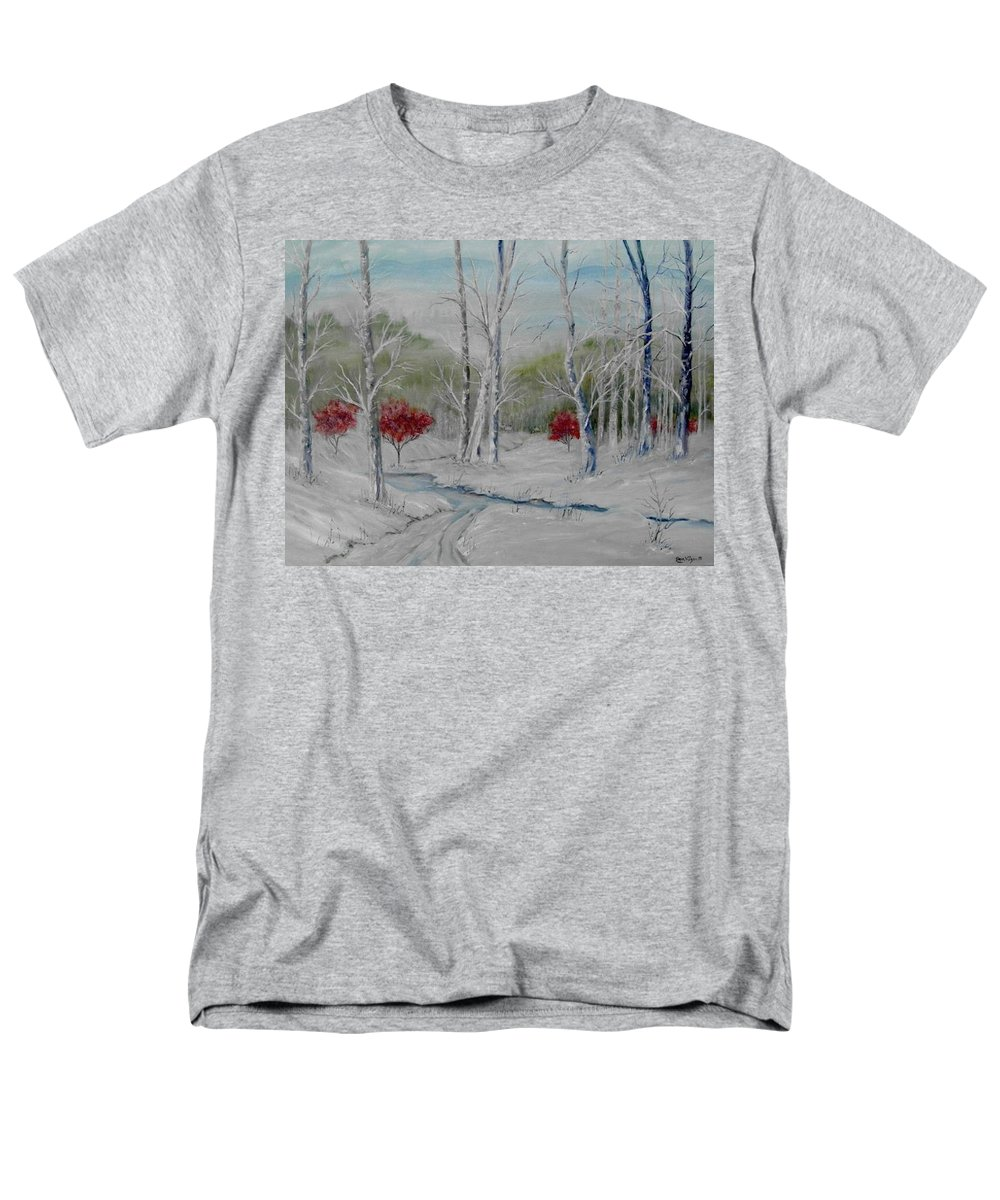 Snow; Winter; Birch Trees Men's T-Shirt (Regular Fit) featuring the painting Silence by Ben Kiger
