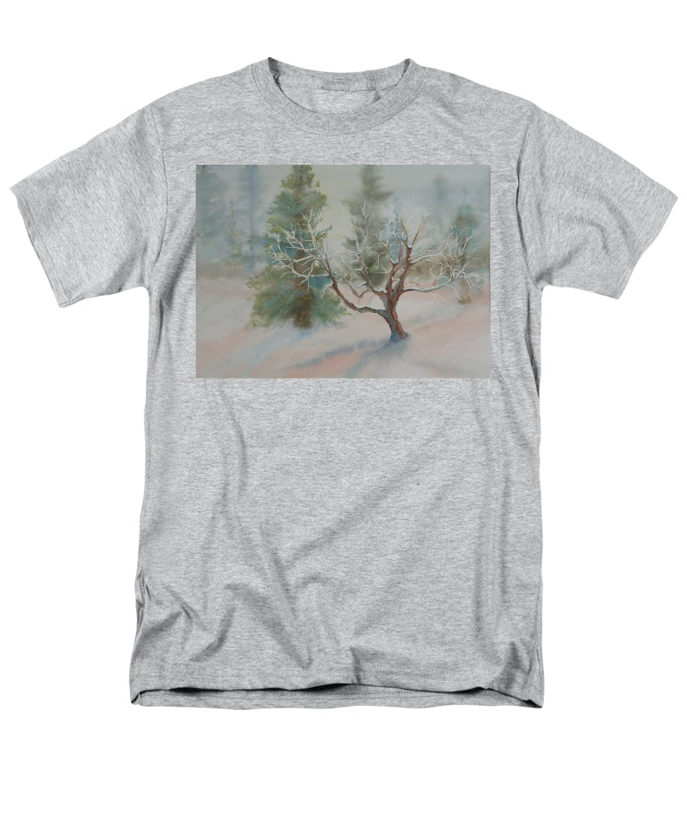 Snow Men's T-Shirt (Regular Fit) featuring the painting Silence by Ruth Kamenev