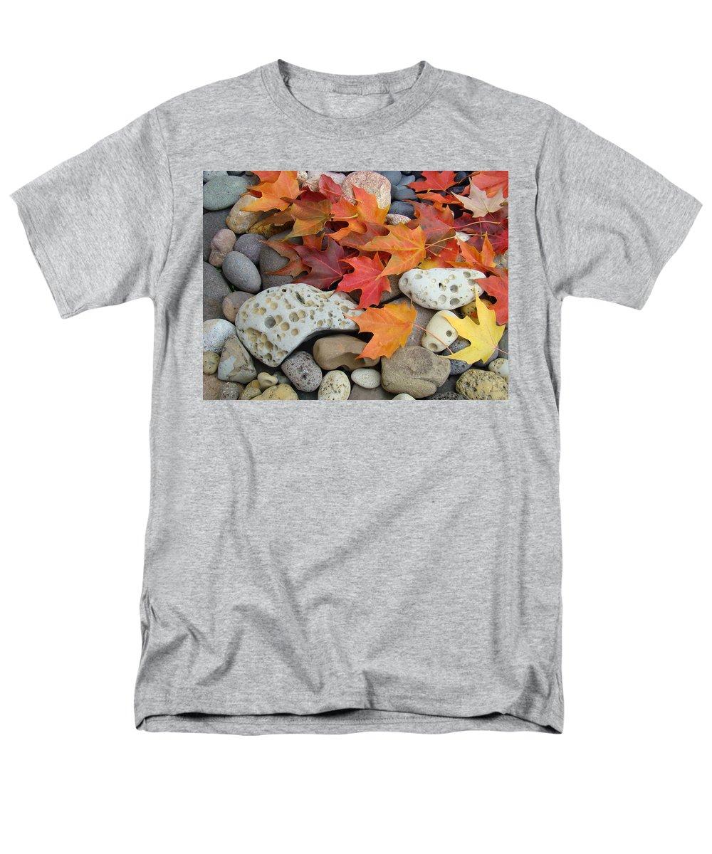 Art Men's T-Shirt (Regular Fit) featuring the photograph Sweet Autumn 1 Autumn Leaves Rock Designs Photography digital art prints by Patti Baslee