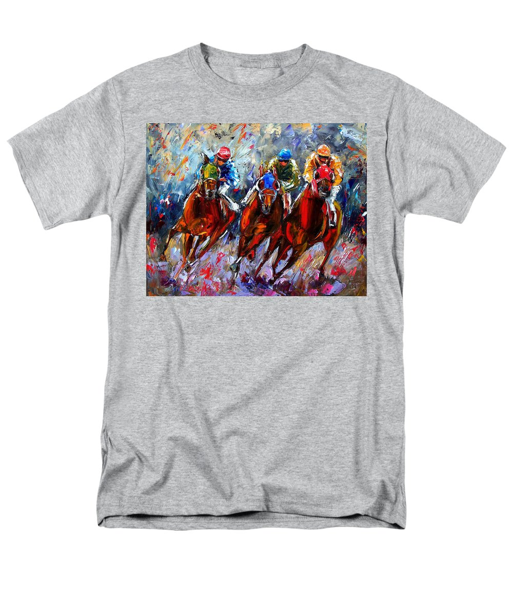 Horses Men's T-Shirt (Regular Fit) featuring the painting The Turn 2 by Debra Hurd
