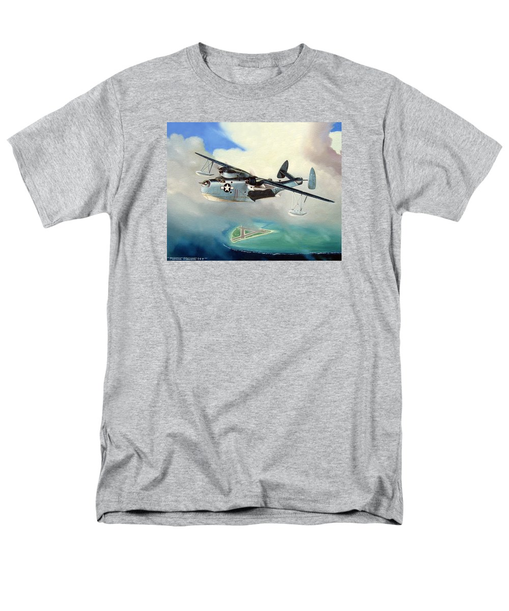 Military Men's T-Shirt (Regular Fit) featuring the painting Uncle Bubba's Flying Boat by Marc Stewart