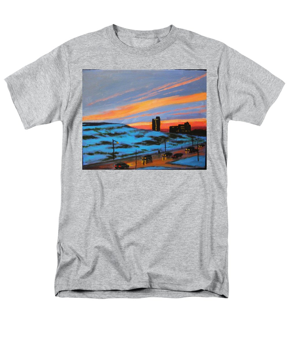 City At Night Men's T-Shirt (Regular Fit) featuring the painting View from My Balcony by John Malone