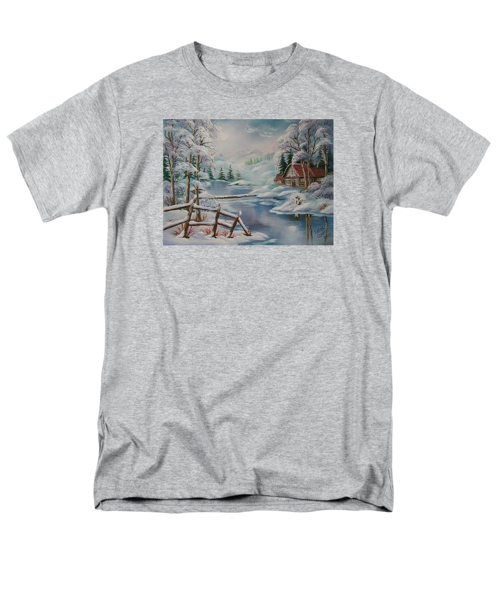 Winter Scapes Men's T-Shirt (Regular Fit) featuring the painting Winter In The Valley by Irene Clarke