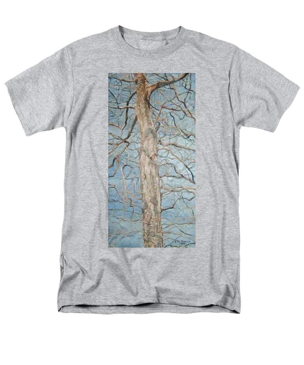 Tree Men's T-Shirt (Regular Fit) featuring the painting Winter Morning by Leah Tomaino