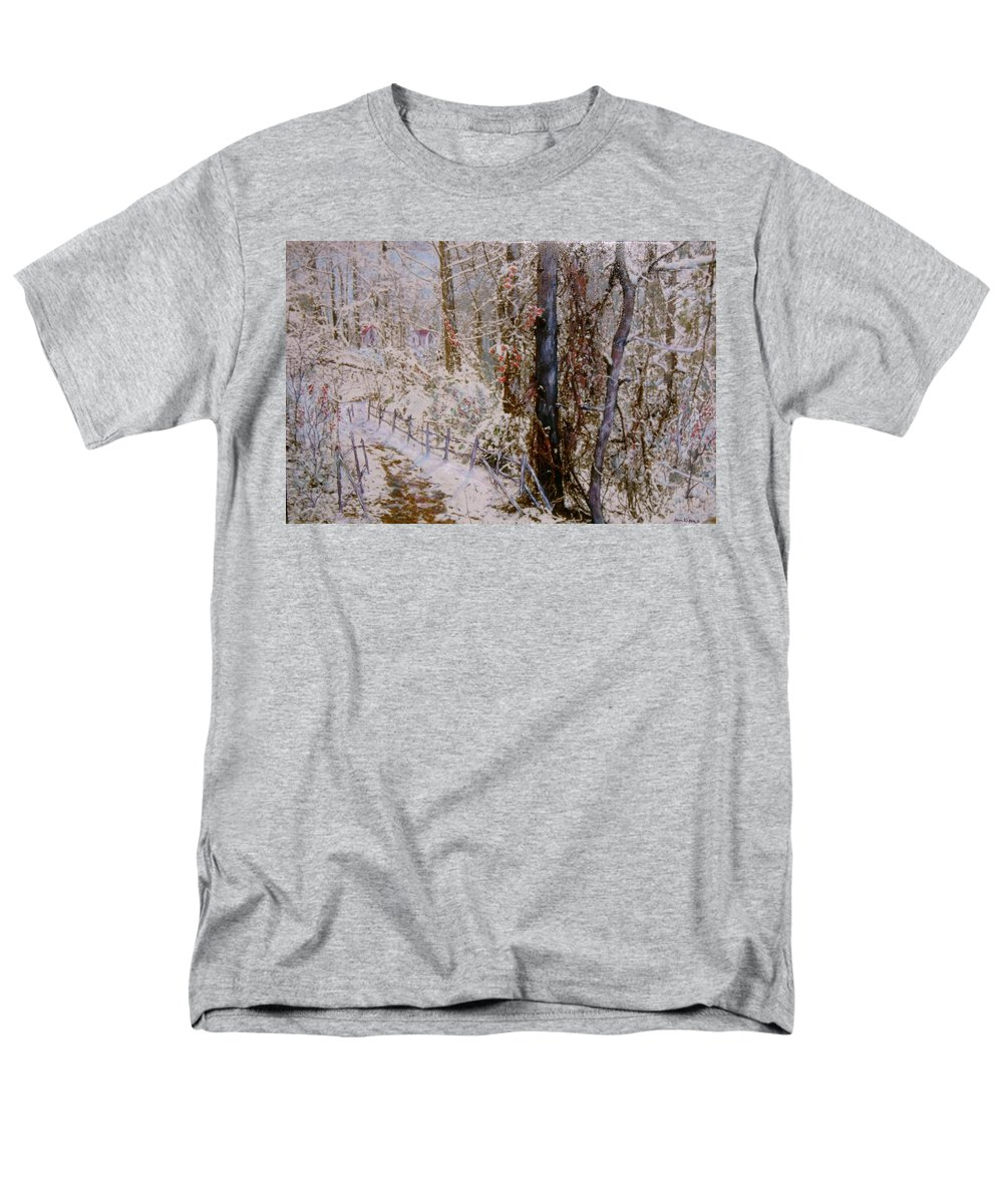 Snow; Trees Men's T-Shirt (Regular Fit) featuring the painting Winter Wonderland by Ben Kiger