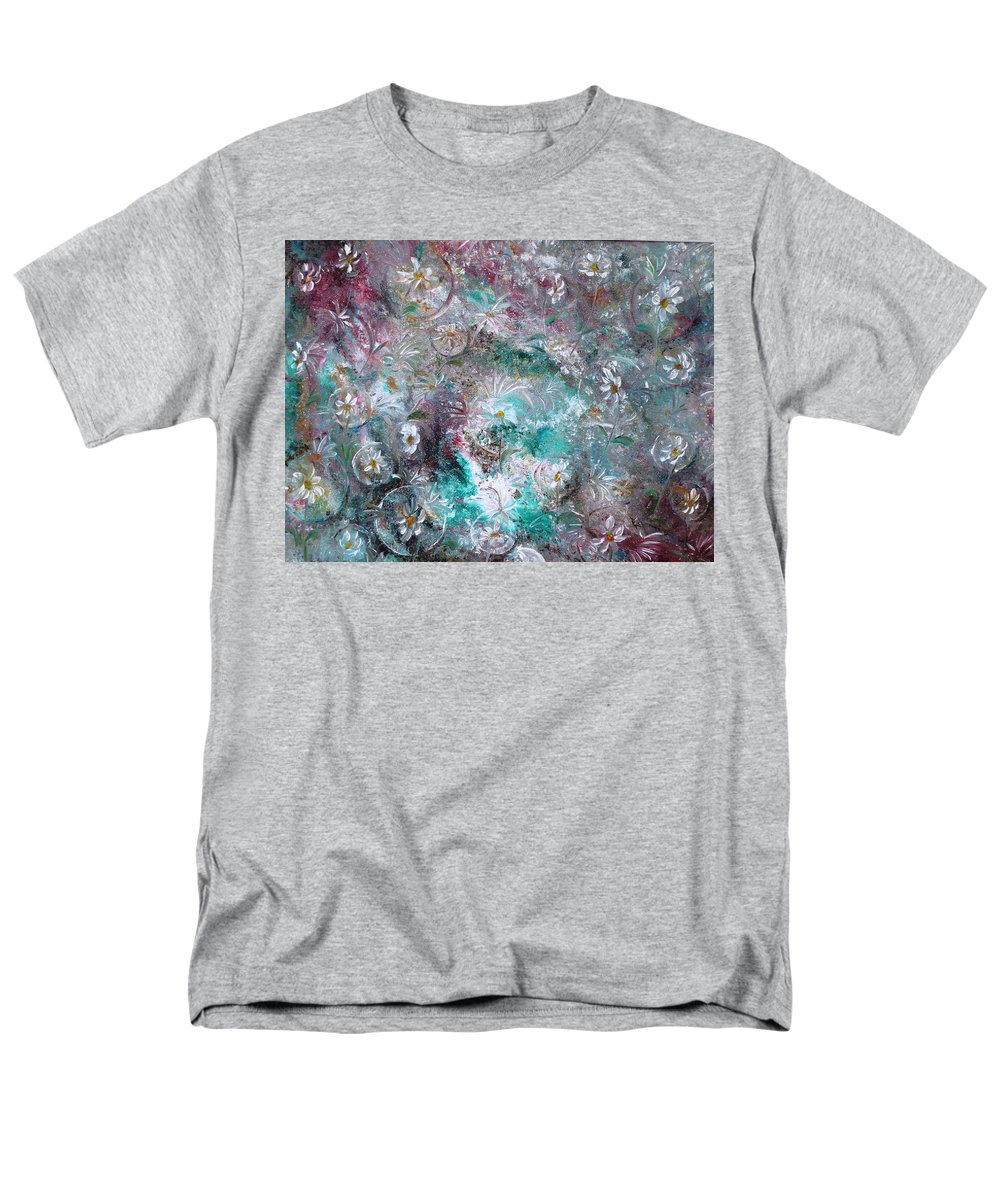 Original Flower Abstract Painting Men's T-Shirt (Regular Fit) featuring the painting Daisy Dreamz by Karin Dawn Kelshall- Best
