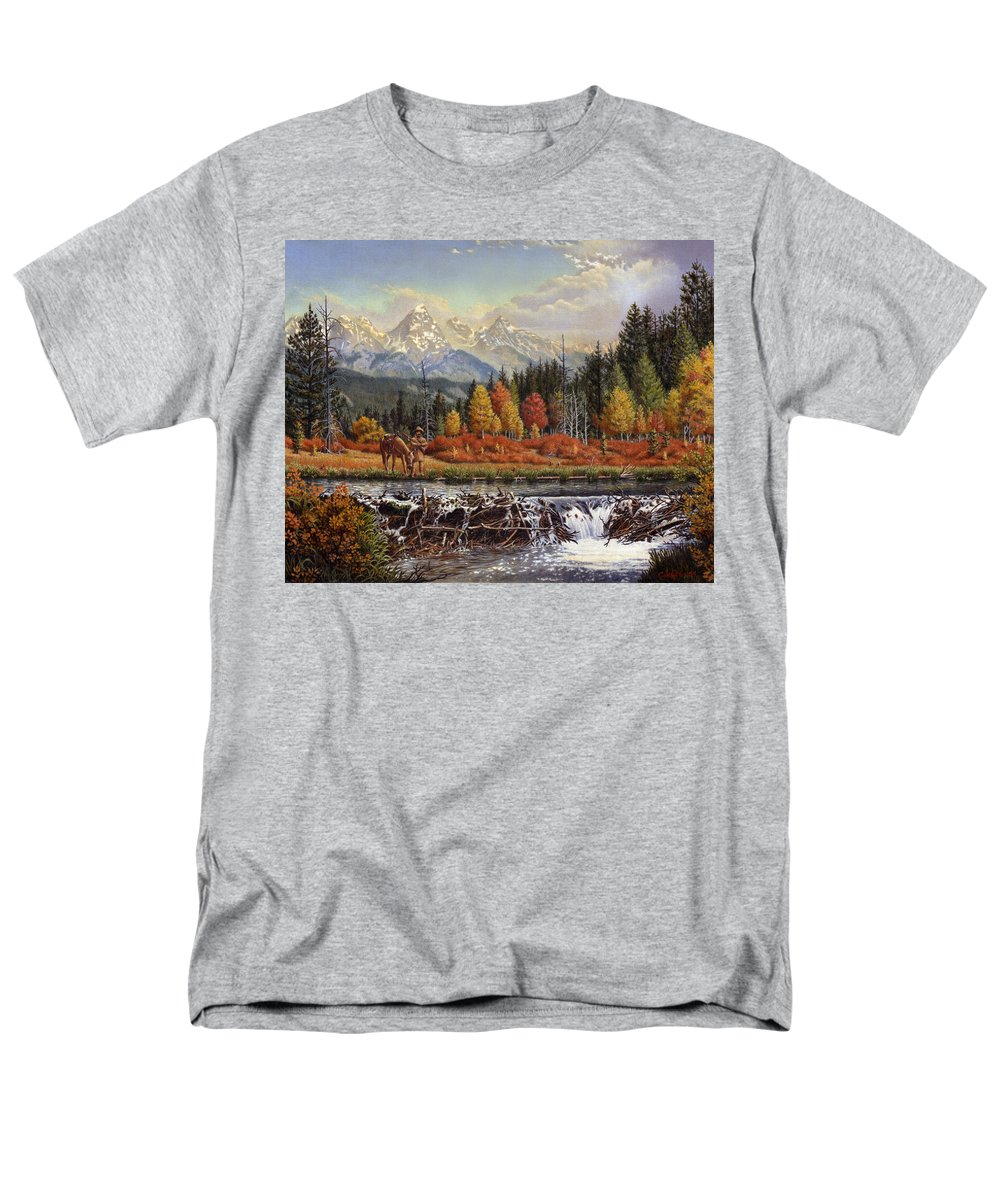 Western Mountain Landscape Men's T-Shirt (Regular Fit) featuring the painting Western Mountain Landscape Autumn Mountain Man Trapper Beaver Dam Frontier Americana Oil Painting by Walt Curlee