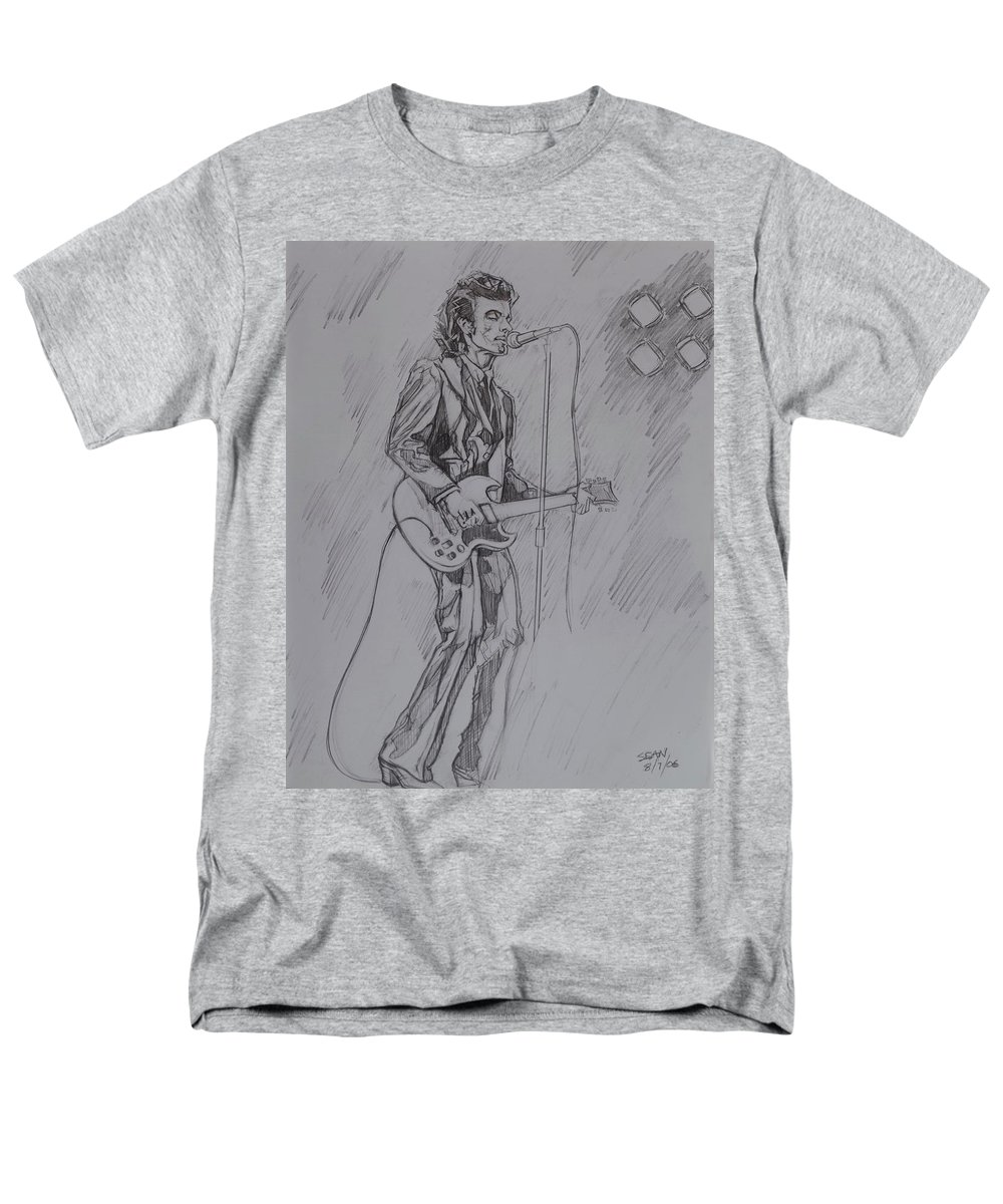 Pencil Men's T-Shirt (Regular Fit) featuring the drawing Willy DeVille - Steady Drivin' Man by Sean Connolly