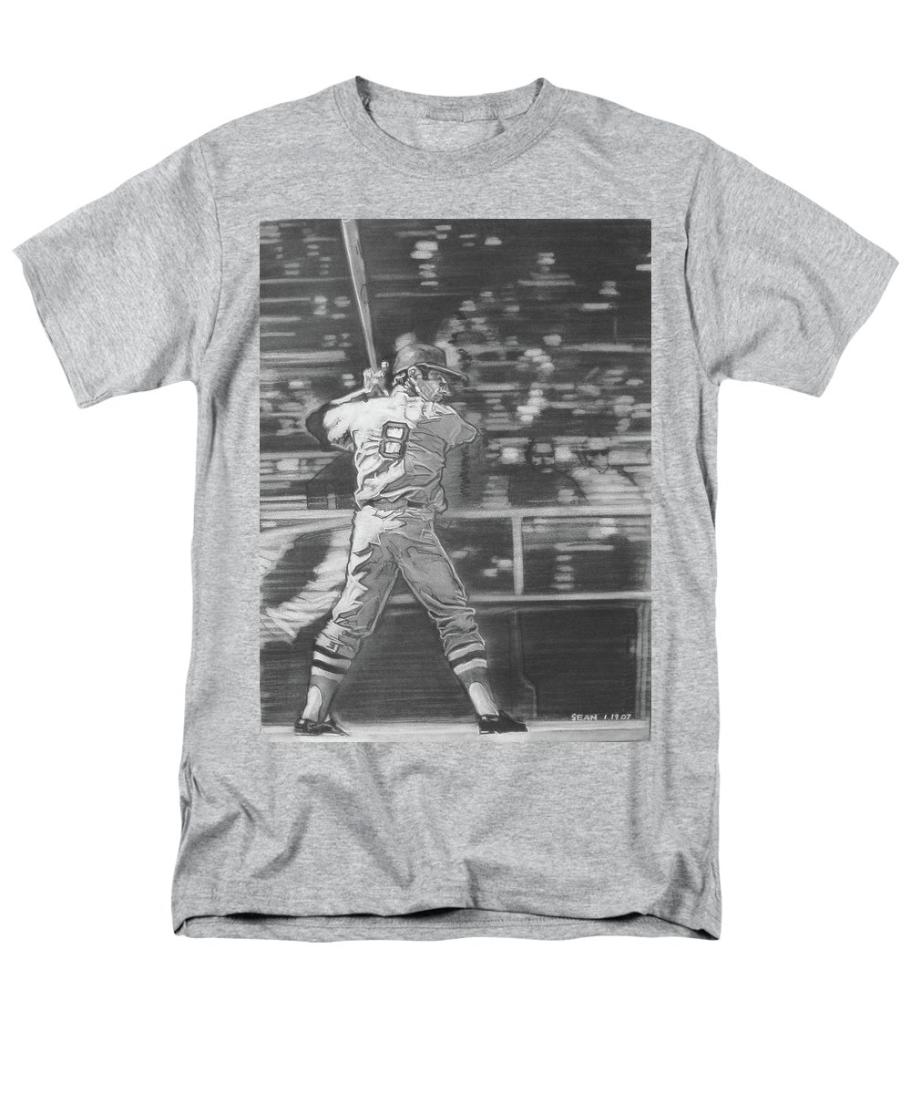 Charcoal On Paper Men's T-Shirt (Regular Fit) featuring the drawing Yaz - Carl Yastrzemski by Sean Connolly
