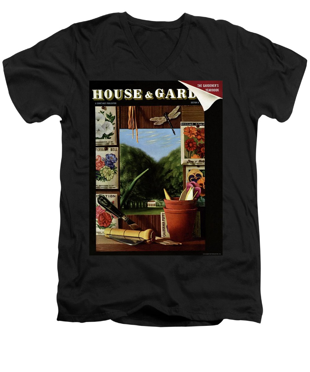 House And Garden Men's V-Neck T-Shirt featuring the photograph House And Garden Cover 1 by Pierre Roy