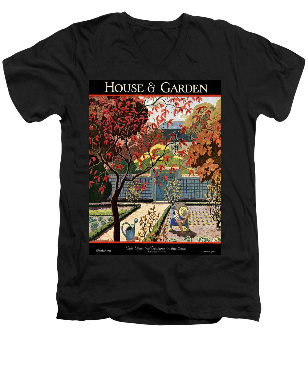 House And Garden Men's V-Neck T-Shirt featuring the photograph House And Garden Fall Planting Number Cover by Pierre Brissaud