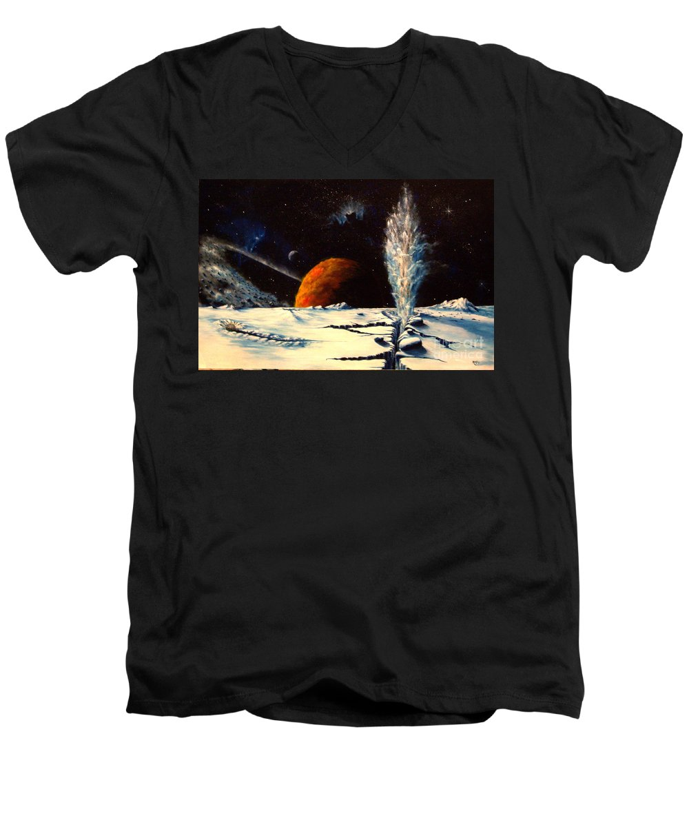 Landscape. Geyser Men's V-Neck T-Shirt featuring the painting Frozen Geyser by Murphy Elliott