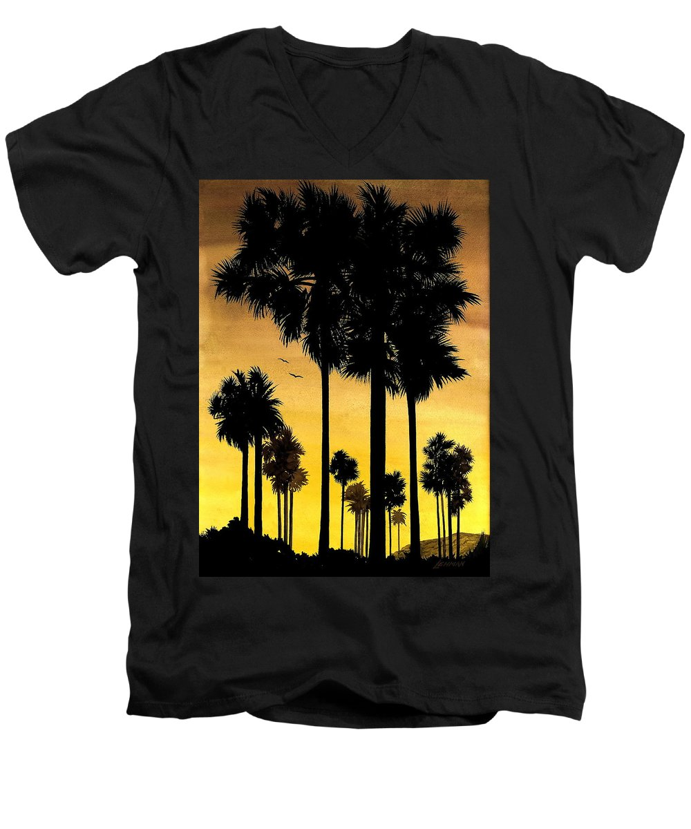 San Diego Sunset Men's V-Neck T-Shirt featuring the painting San Diego Sunset by Larry Lehman