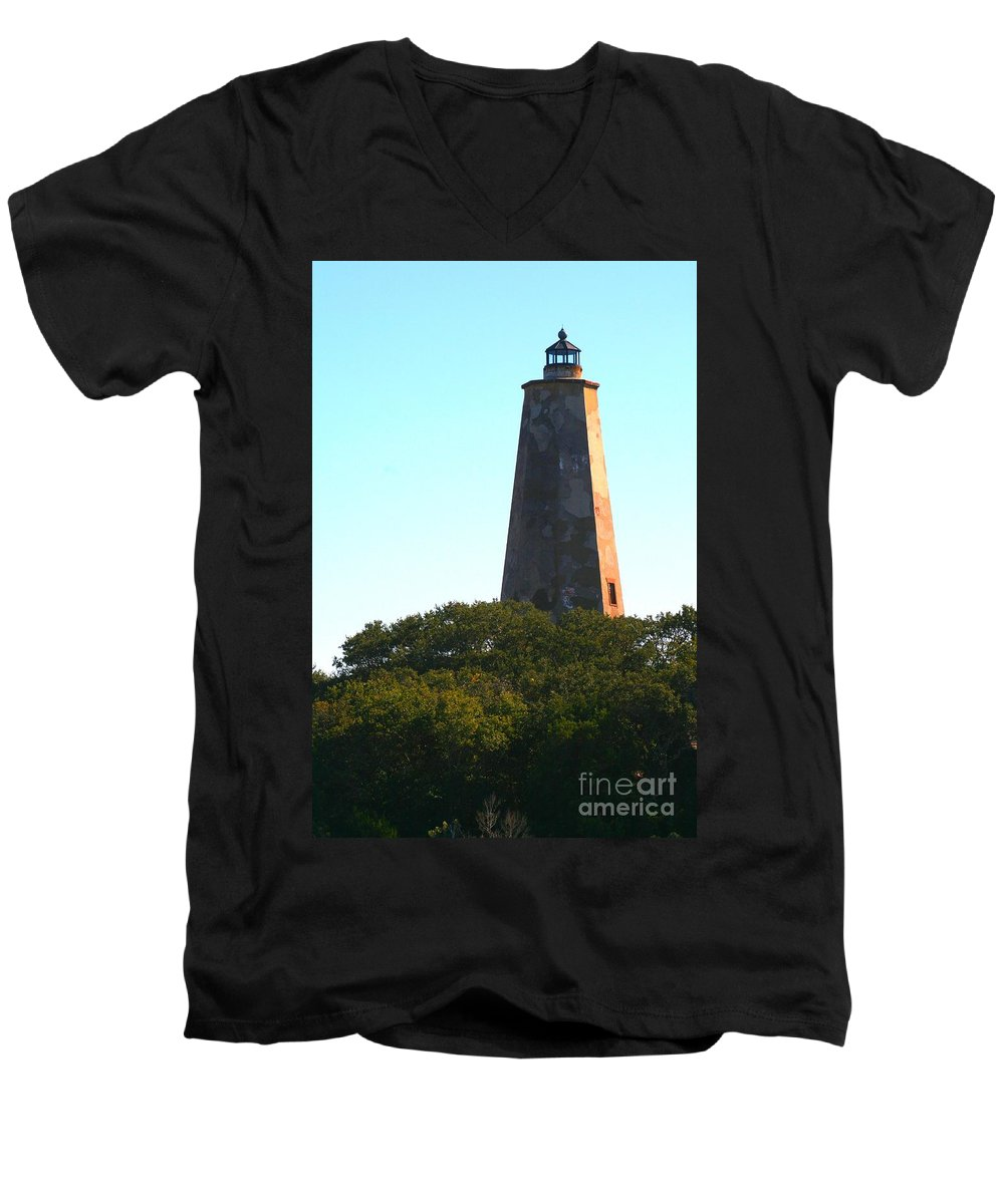 Lighthouse Men's V-Neck T-Shirt featuring the photograph The Lighthouse by Nadine Rippelmeyer