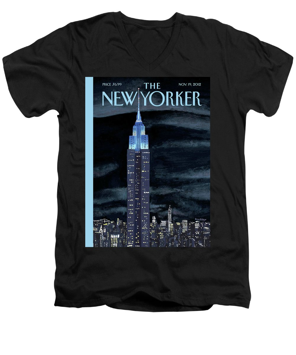 New York City Men's V-Neck T-Shirt featuring the painting Rhapsody In Blue by Mark Ulriksen
