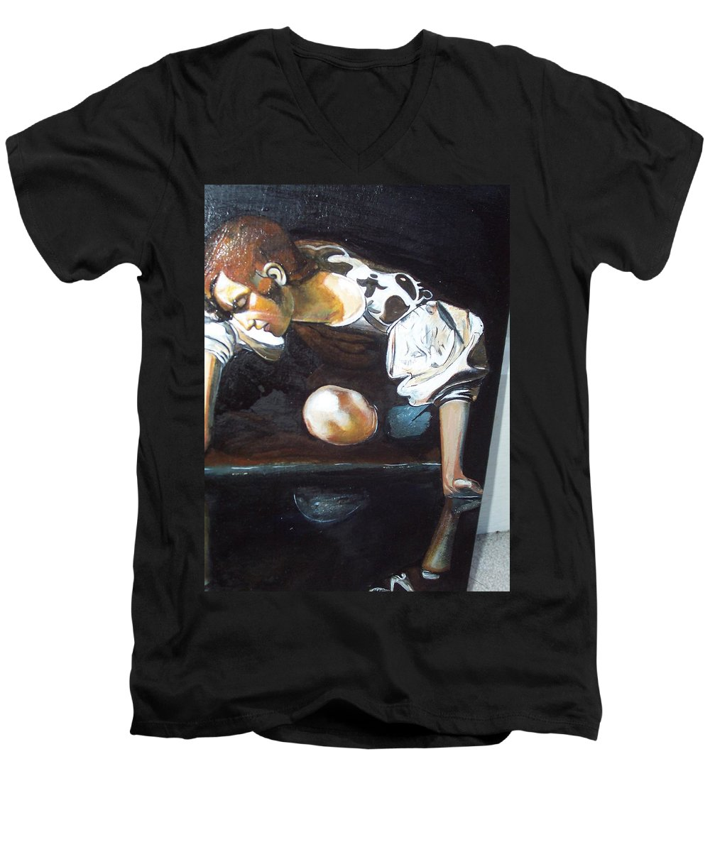 Men's V-Neck T-Shirt featuring the painting Detail by Jude Darrien