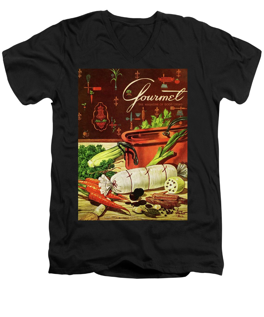 Food Men's V-Neck T-Shirt featuring the photograph A Copper Pot And Ingredients Of Ballontine De by Henry Stahlhut