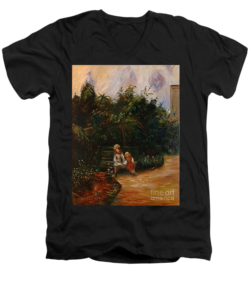 Classic Art Men's V-Neck T-Shirt featuring the painting A Corner Of The Garden At The Hermitage by Silvana Abel