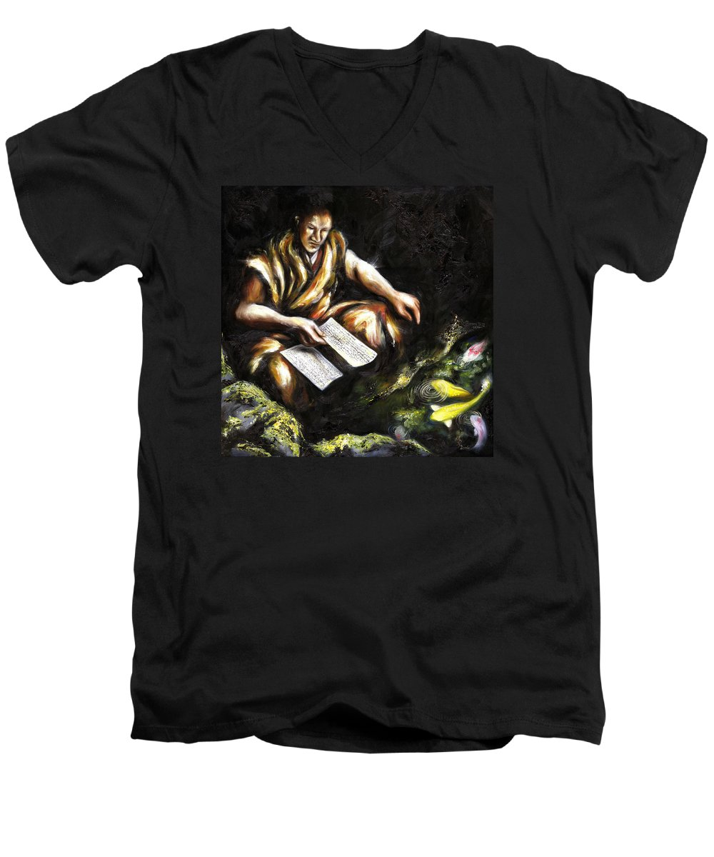 Japanesque Men's V-Neck T-Shirt featuring the painting A Letter by Hiroko Sakai