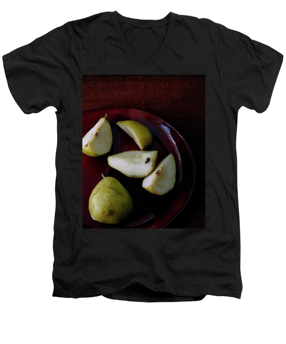Pear Men's V-Neck T-Shirt featuring the photograph A Plate Of Pears by Romulo Yanes