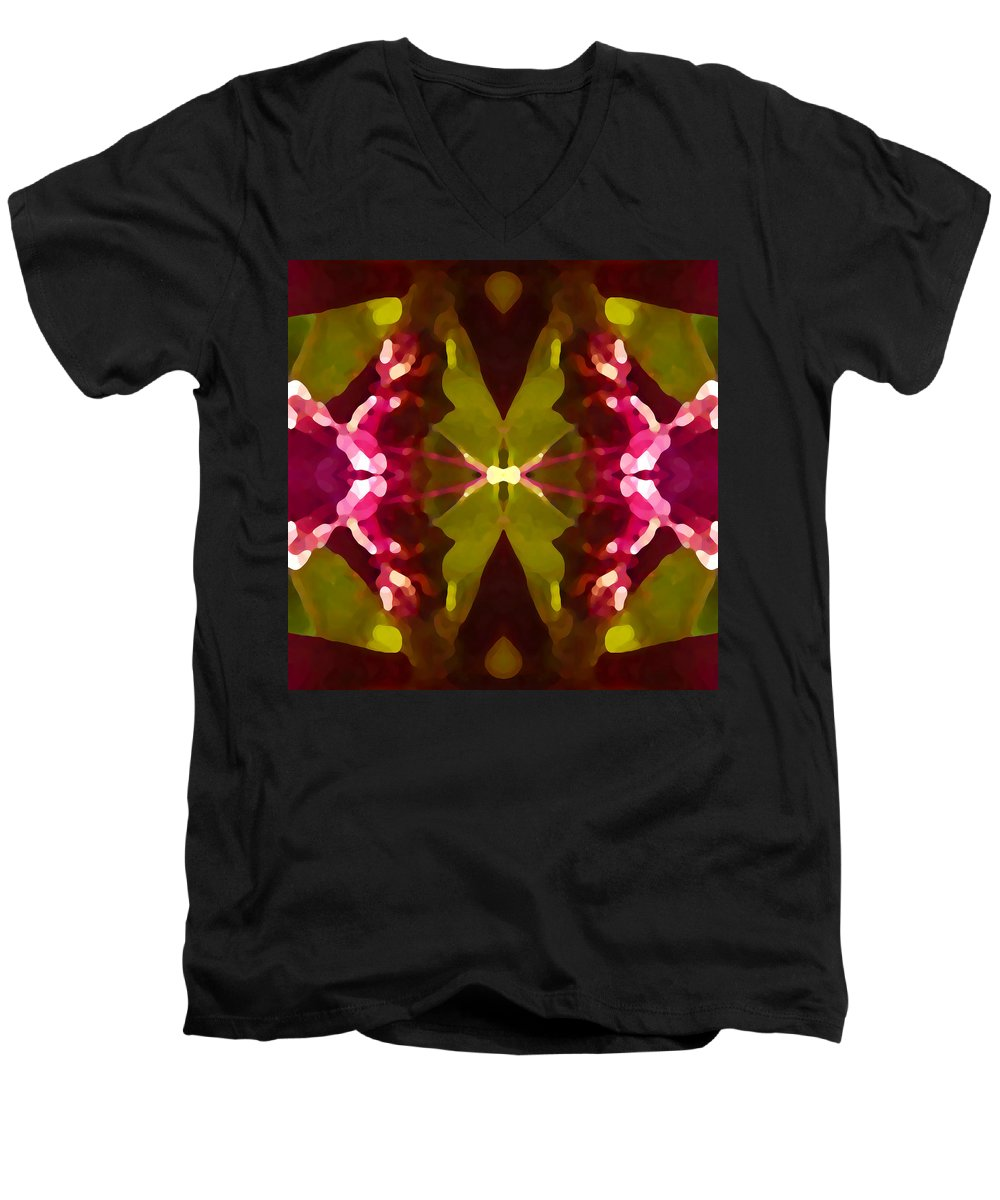 Contemporary Men's V-Neck T-Shirt featuring the painting Abstract Crystal Butterfly by Amy Vangsgard