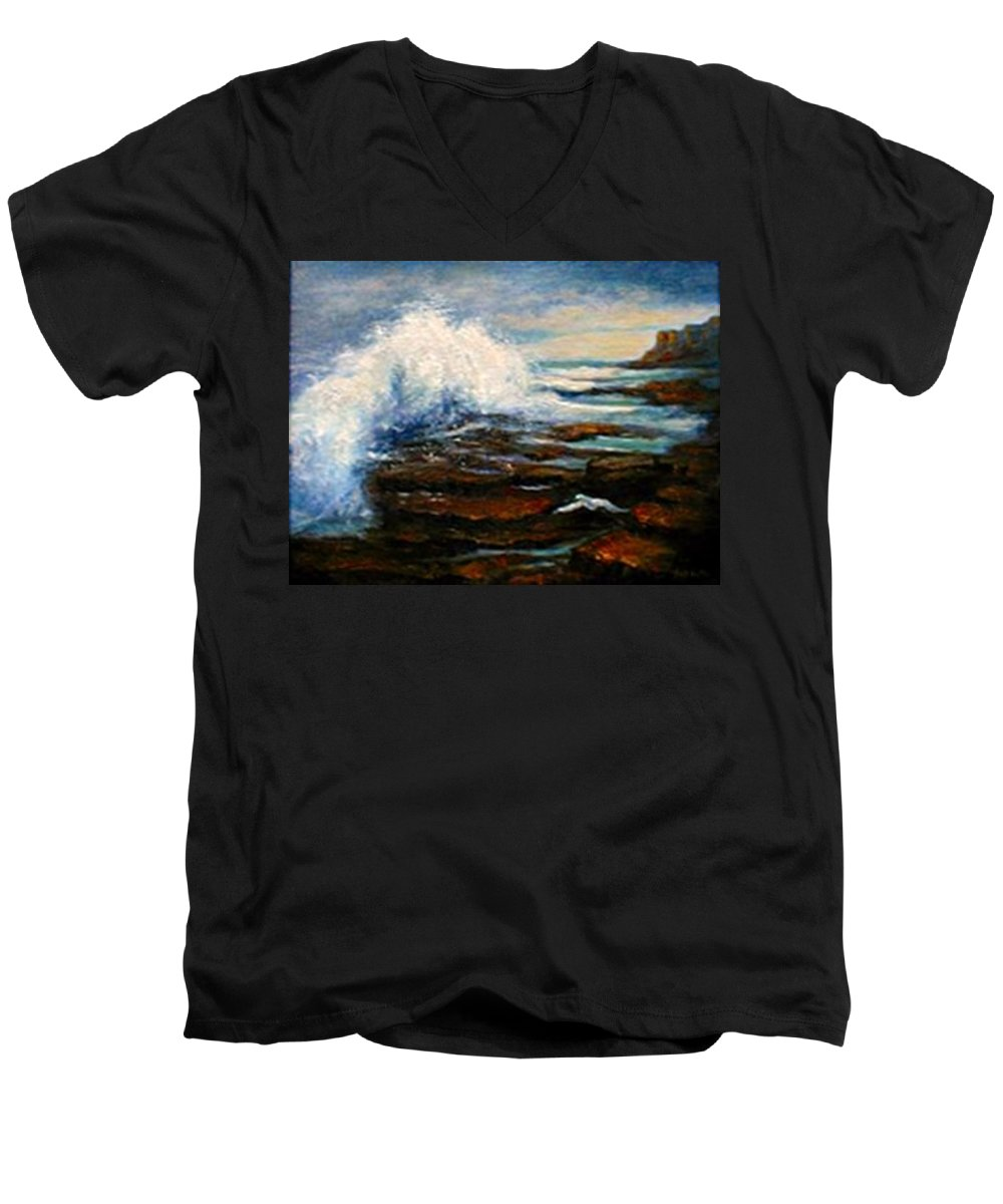 Seascape Men's V-Neck T-Shirt featuring the painting After The Storm by Gail Kirtz