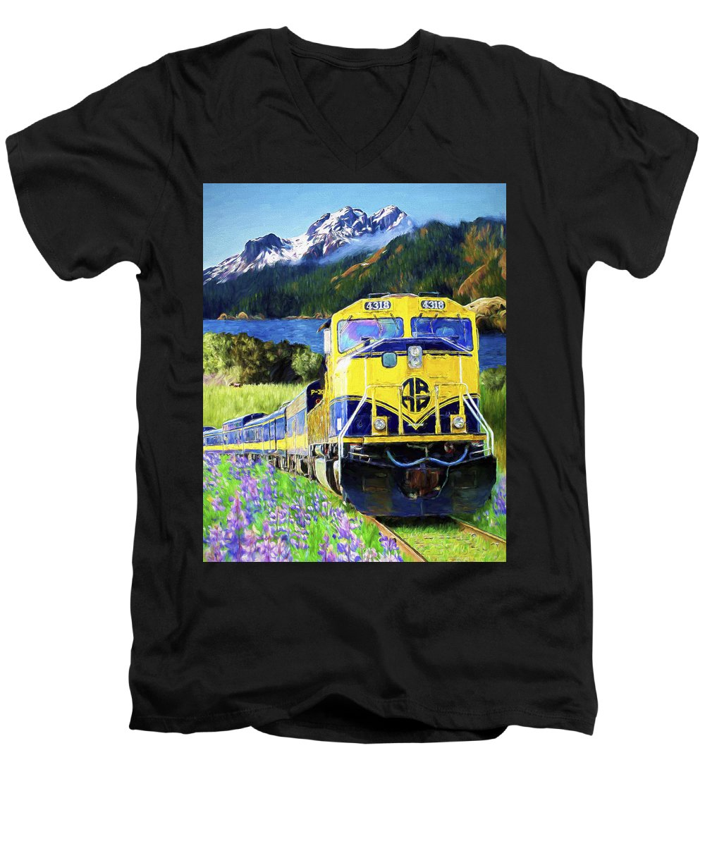Railroad Men's V-Neck T-Shirt featuring the painting Alaska Railroad by David Wagner