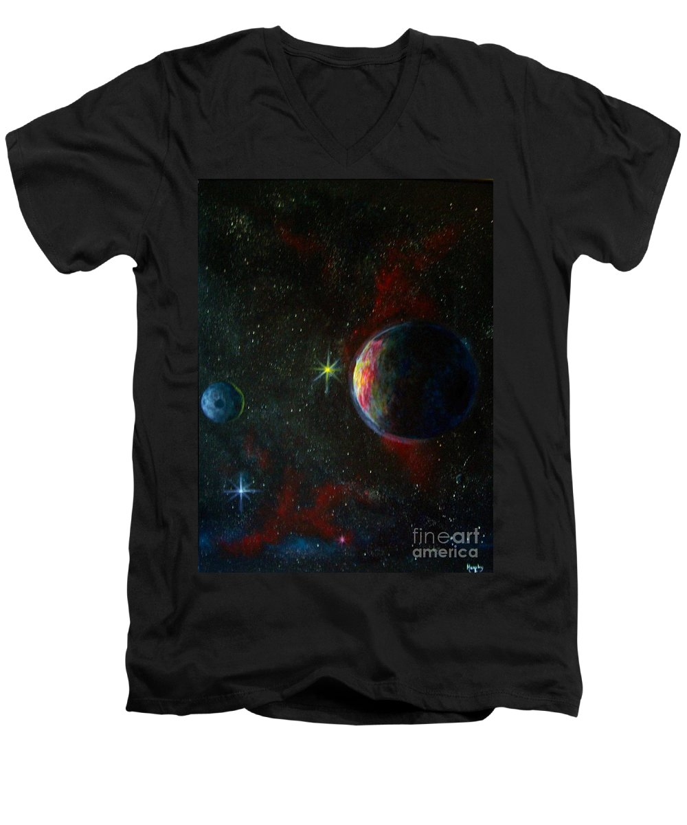 Cosmos Men's V-Neck T-Shirt featuring the painting Alien Worlds by Murphy Elliott