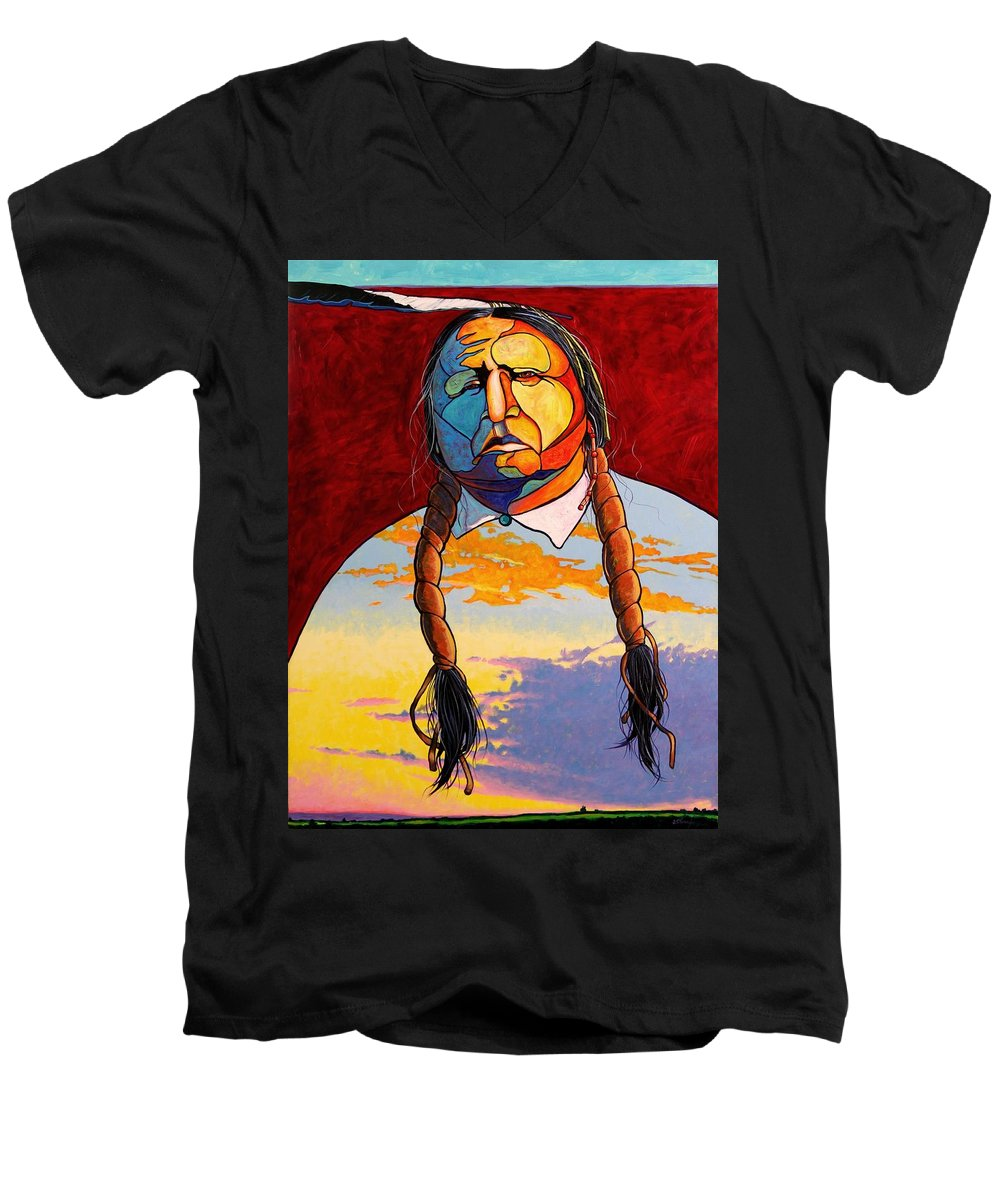 Spiritual Men's V-Neck T-Shirt featuring the painting All That I Am by Joe Triano
