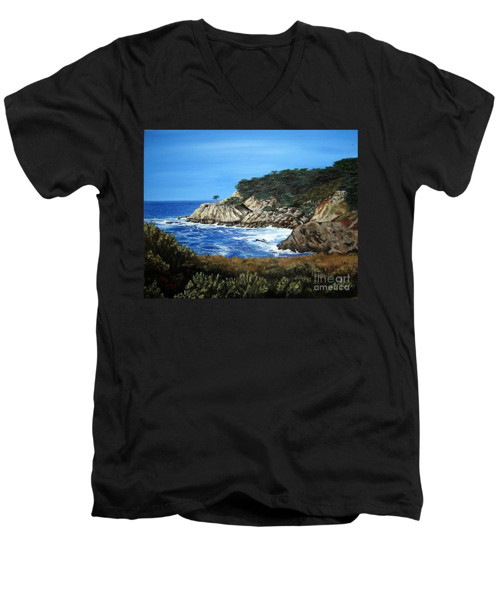 Landscape Men's V-Neck T-Shirt featuring the painting Along The California Coast by Mary Rogers
