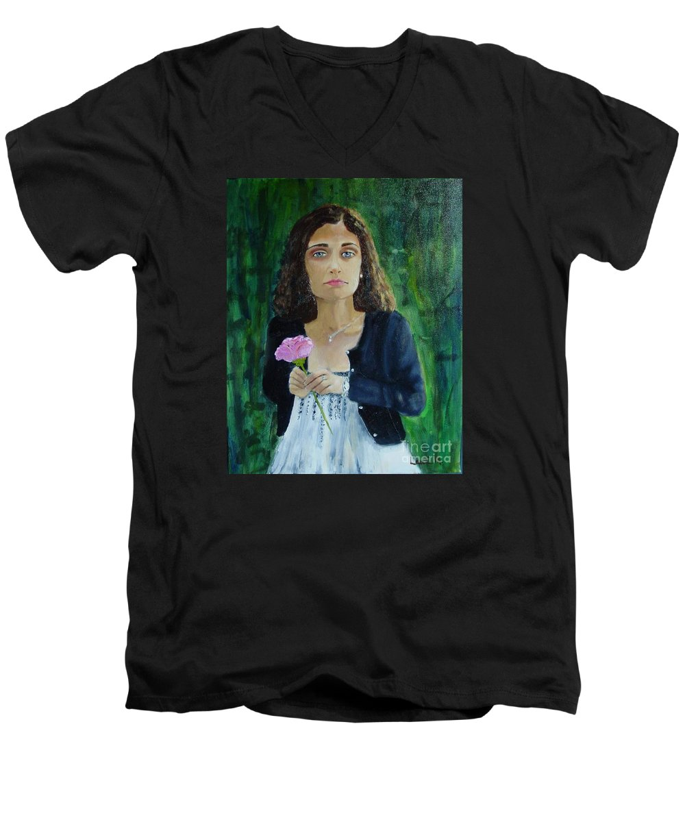 Portrait Men's V-Neck T-Shirt featuring the painting Aly by Laurie Morgan